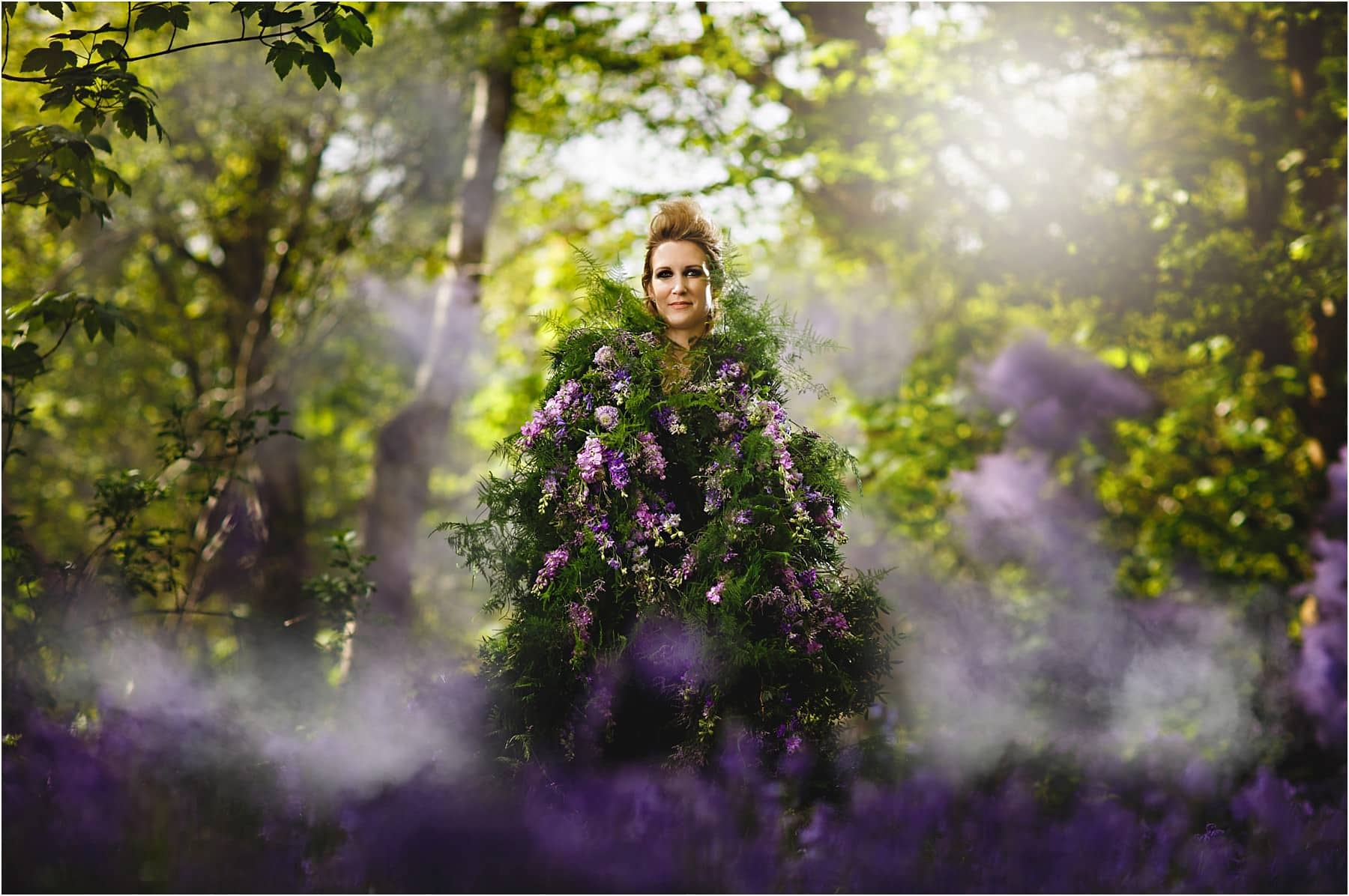 bluebell bride and woodland smoke