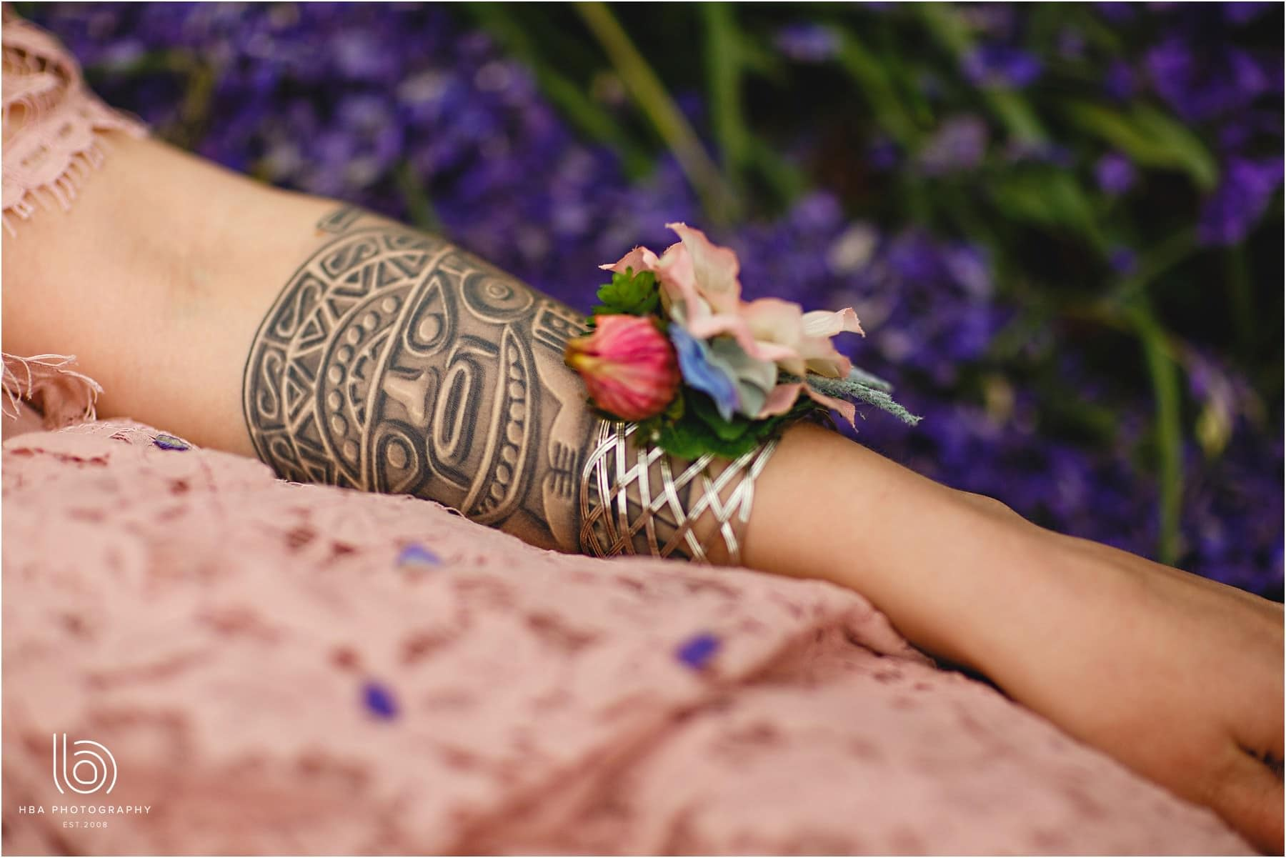 tattood bride wrist band flowers