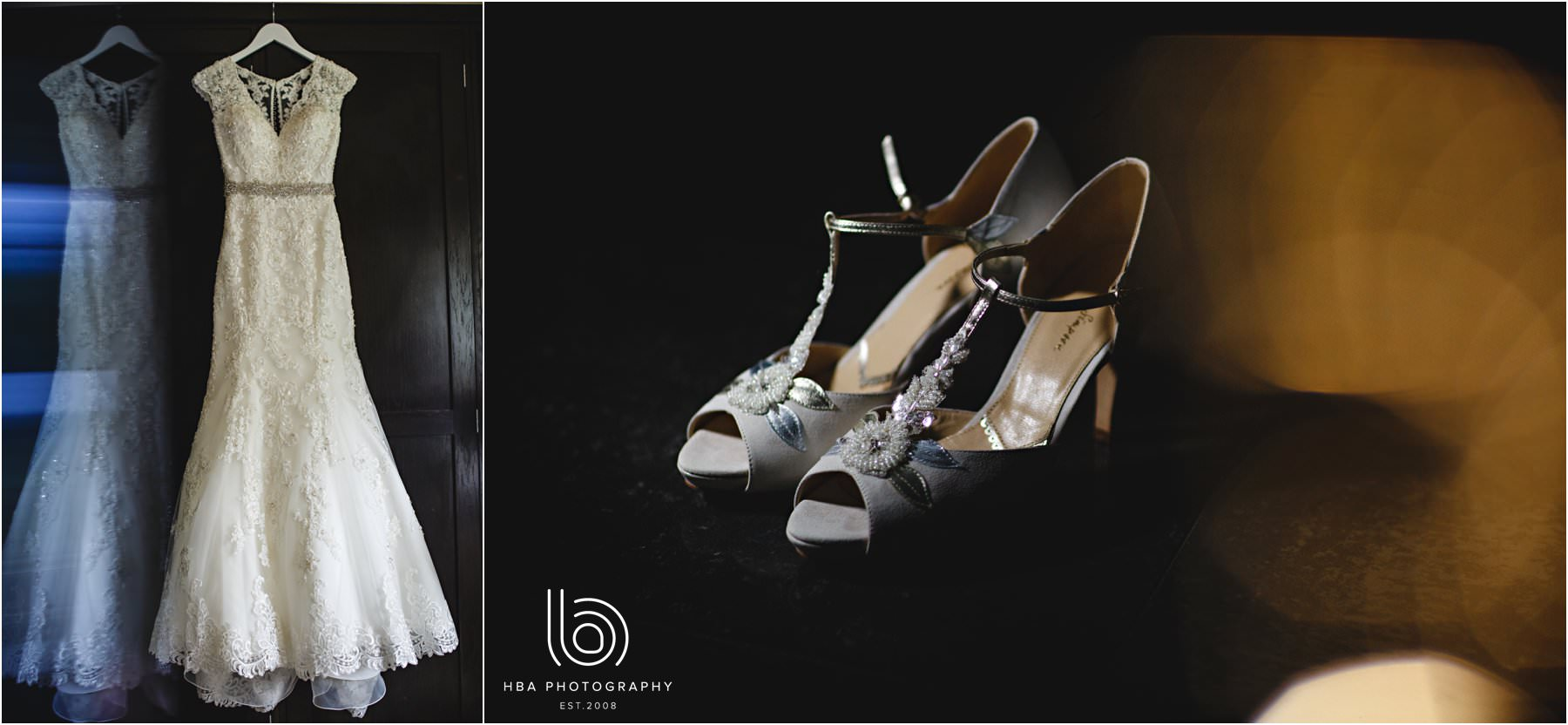 the bride's shoes and dress
