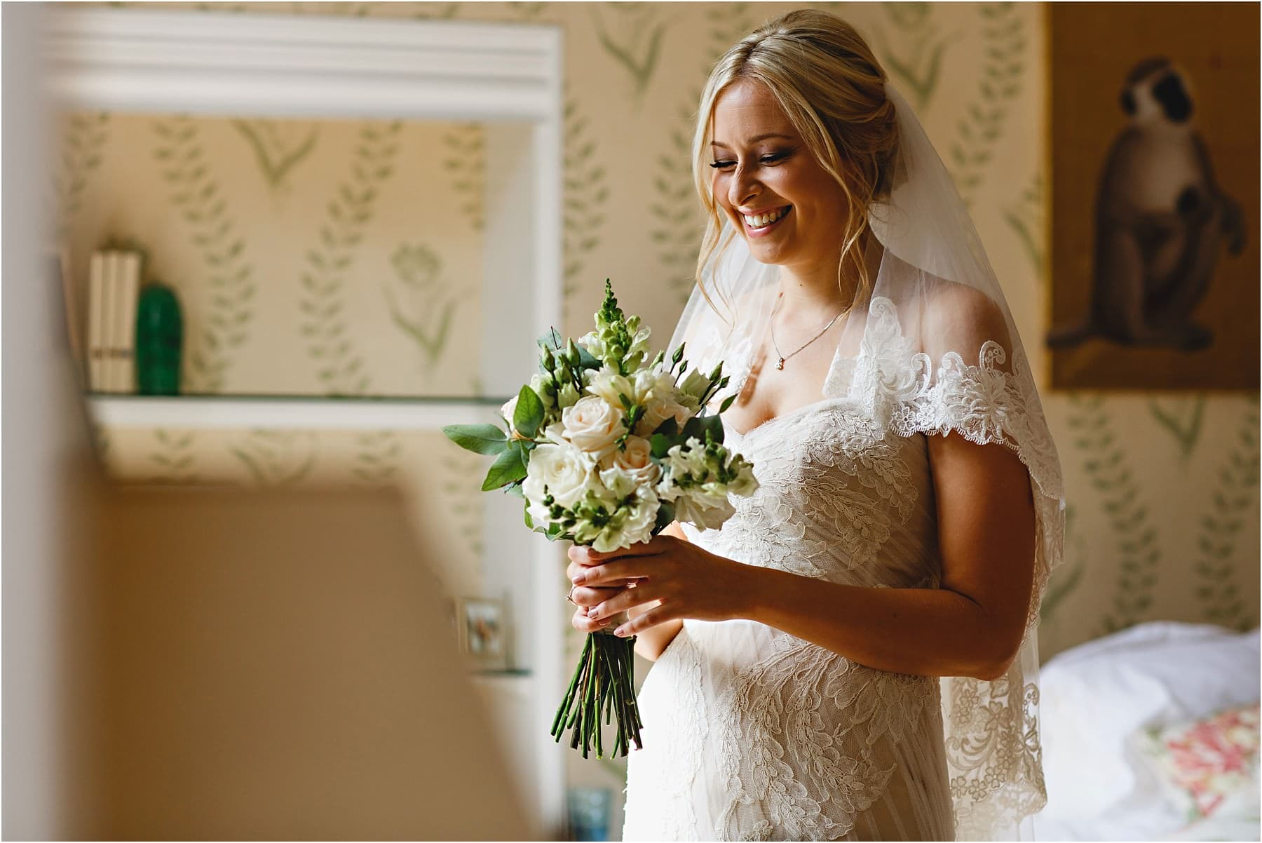 the bride with ther flowers