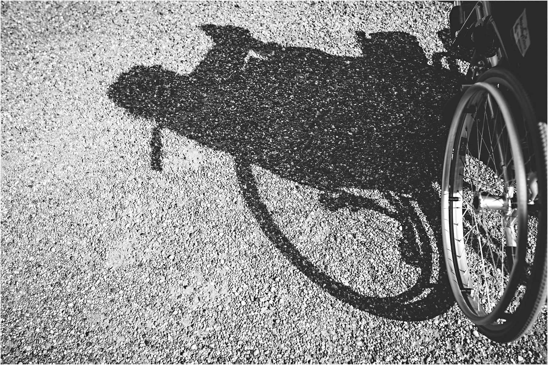 Shadow of a wheelchair