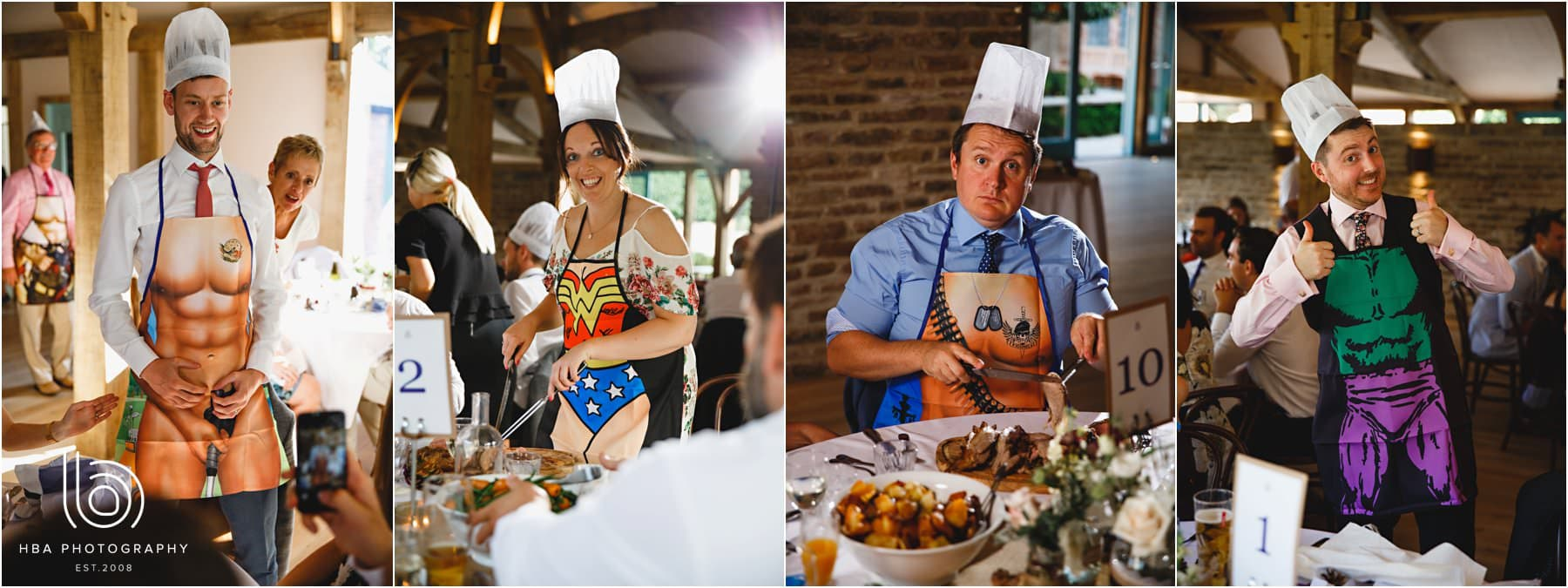 the guests in silly aprons serving dinner