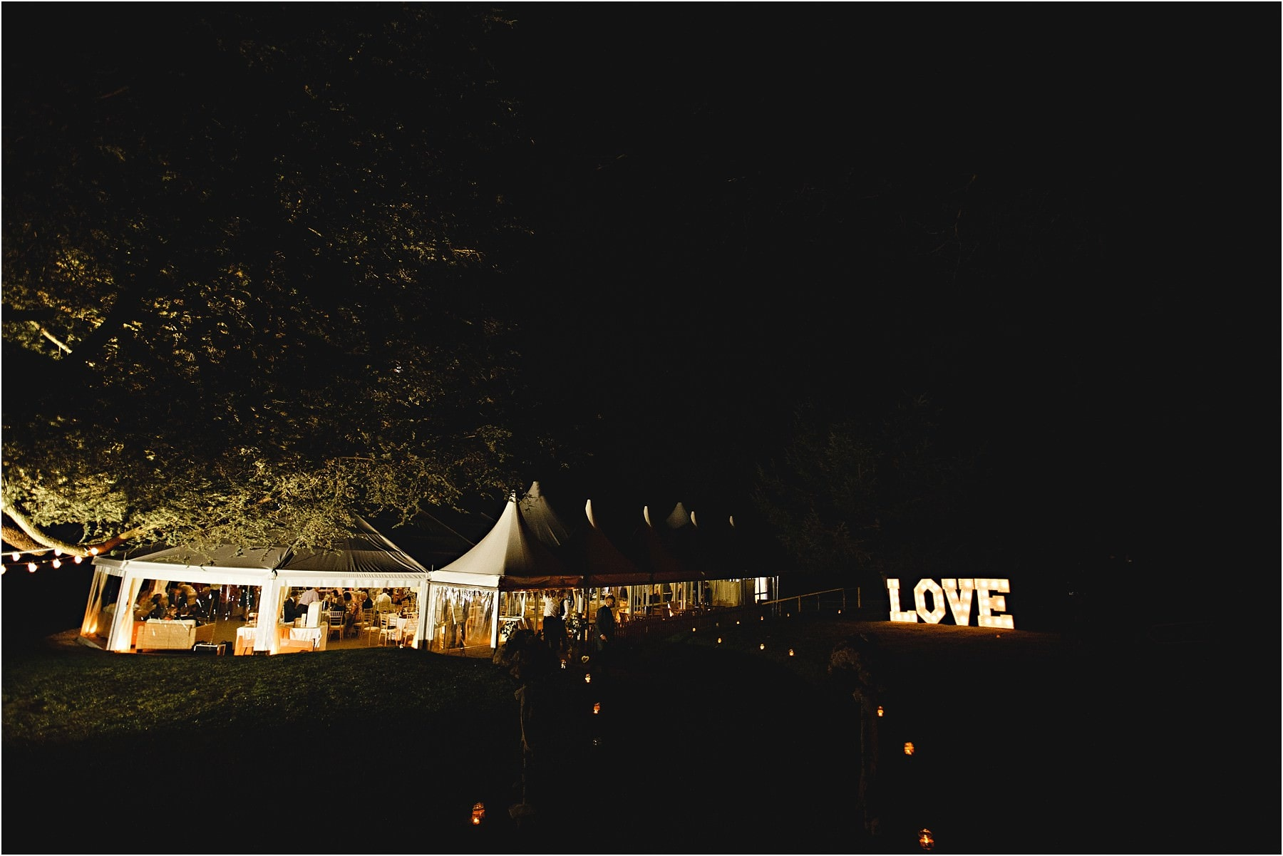 the marquee at Tissington Hall at night