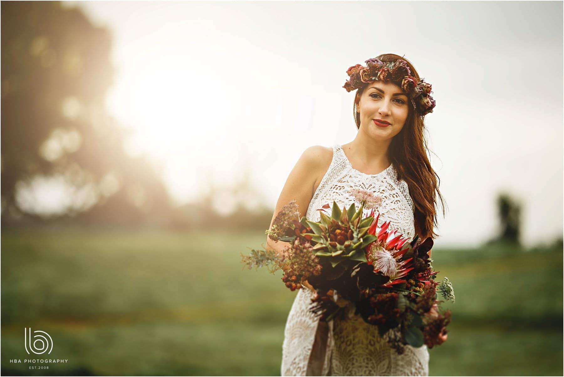the bride in golden sunligh