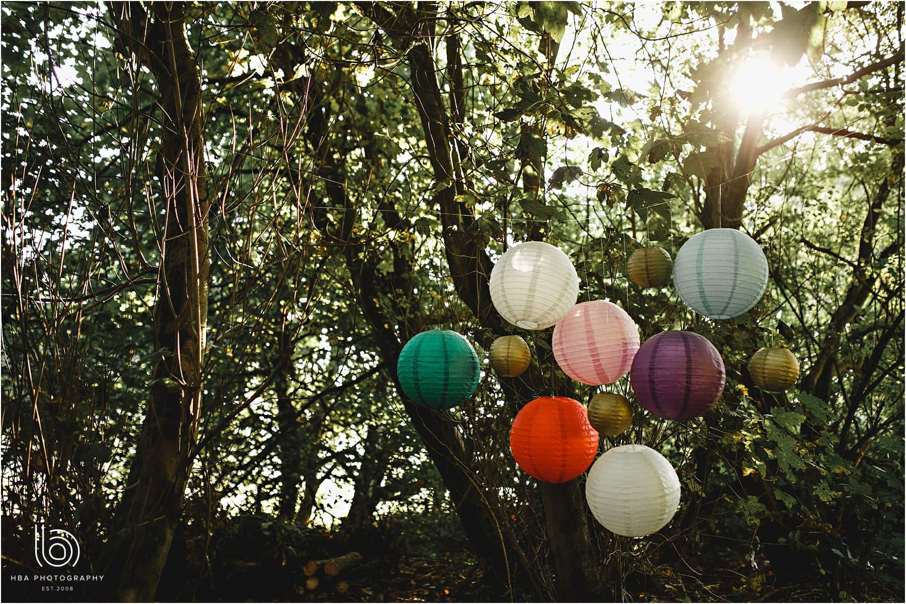 Hanging Lantern wedding decorations in the wood