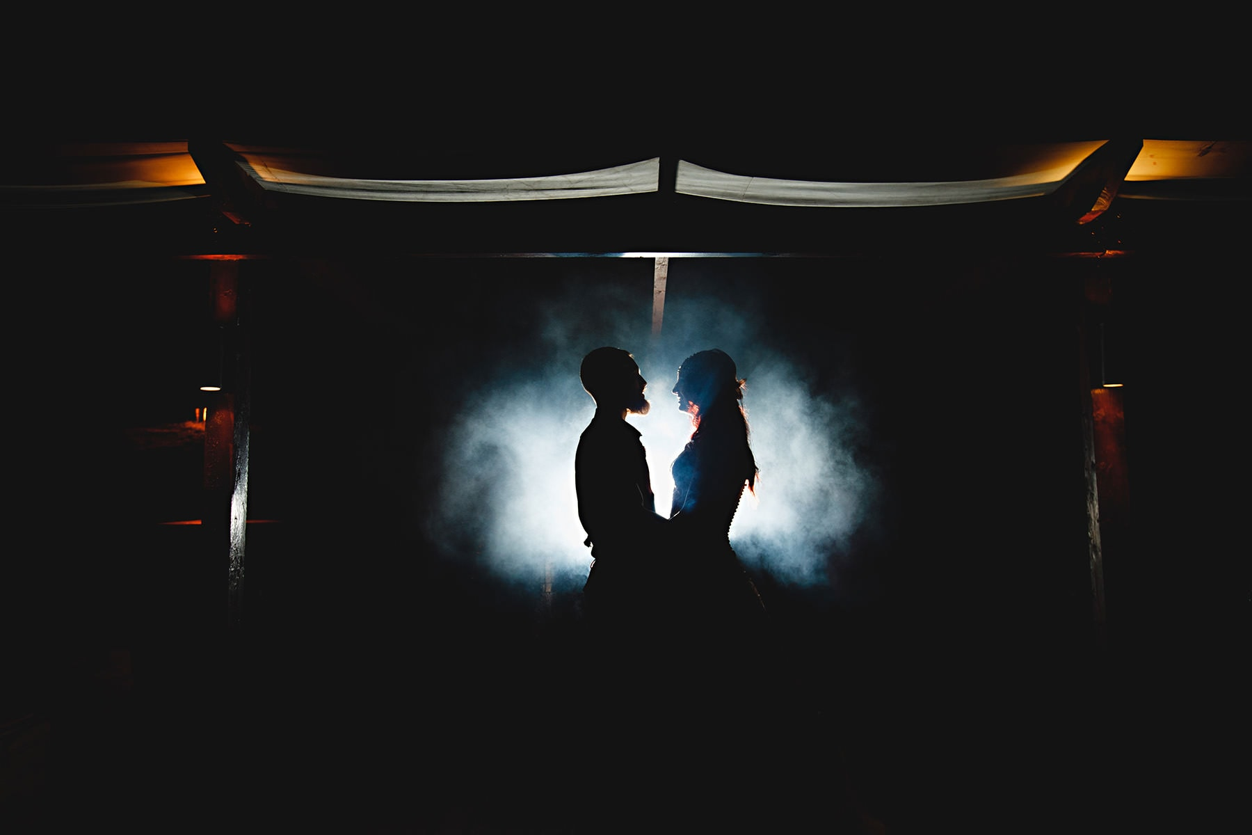 mary and geofff stood in darkness at the fox and goose inn in Chesterfield Derbyshire
