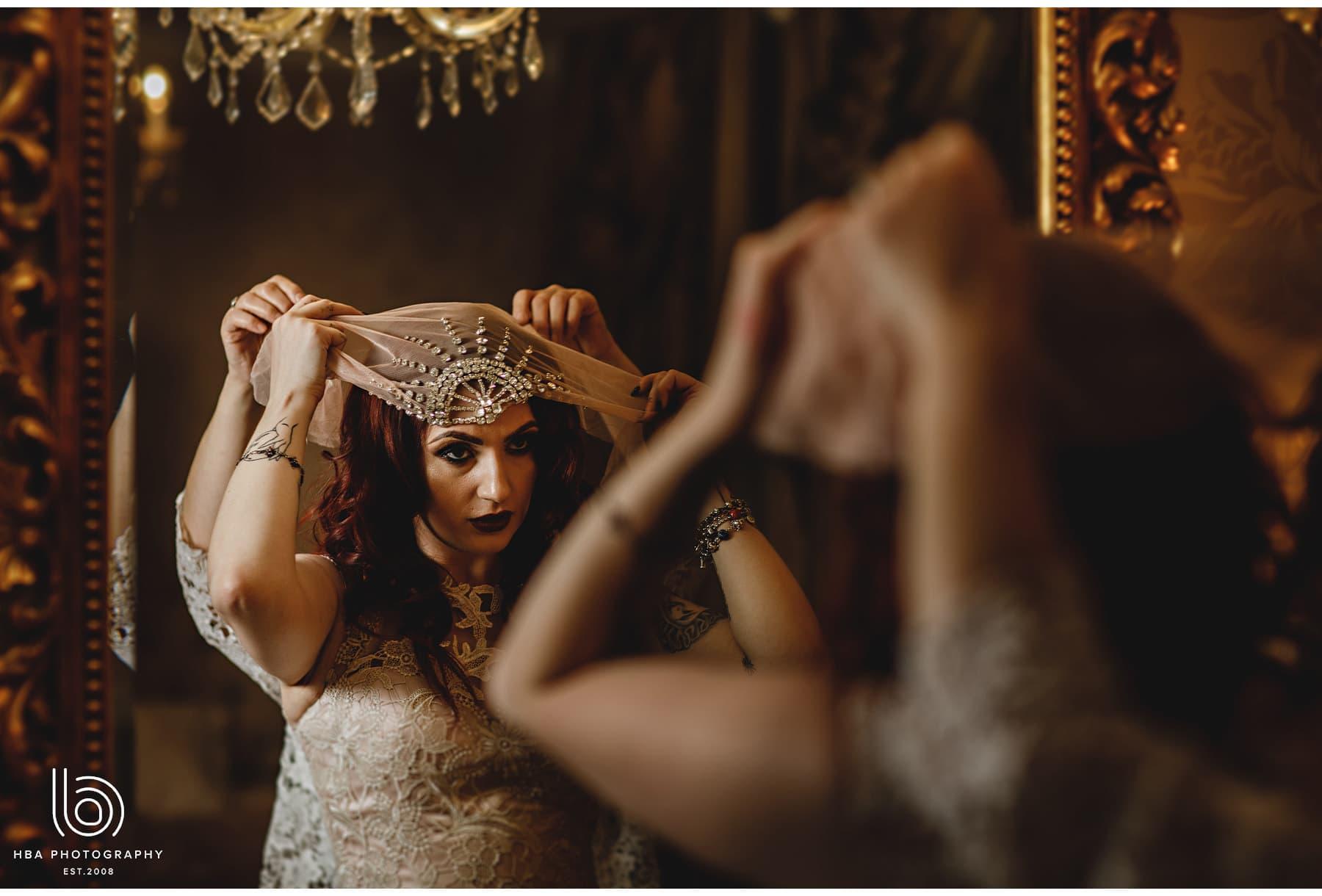 the bride's diamonte turban