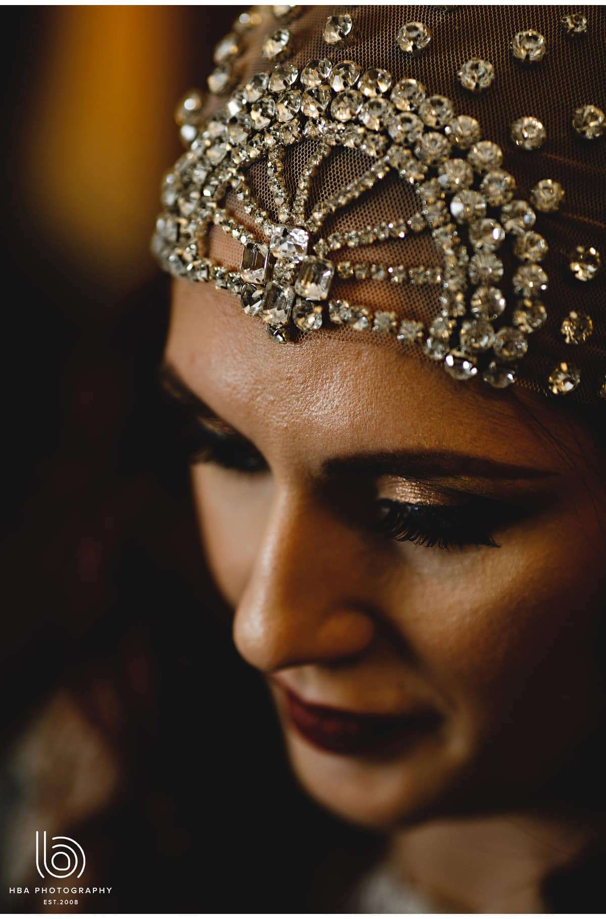 a close up of the bride's turban