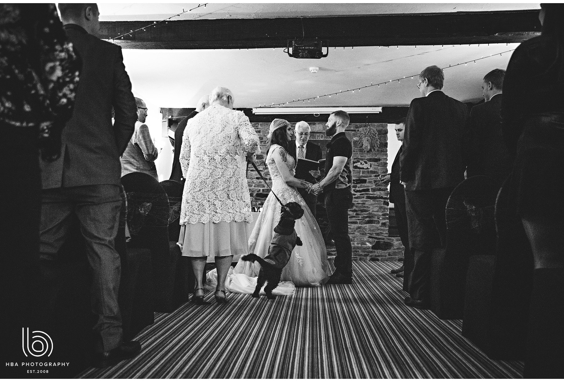 the wedding ceremony with the couple's dog