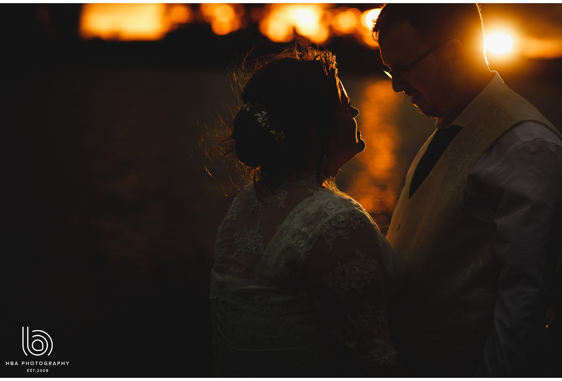 the bride & groom at golden hour