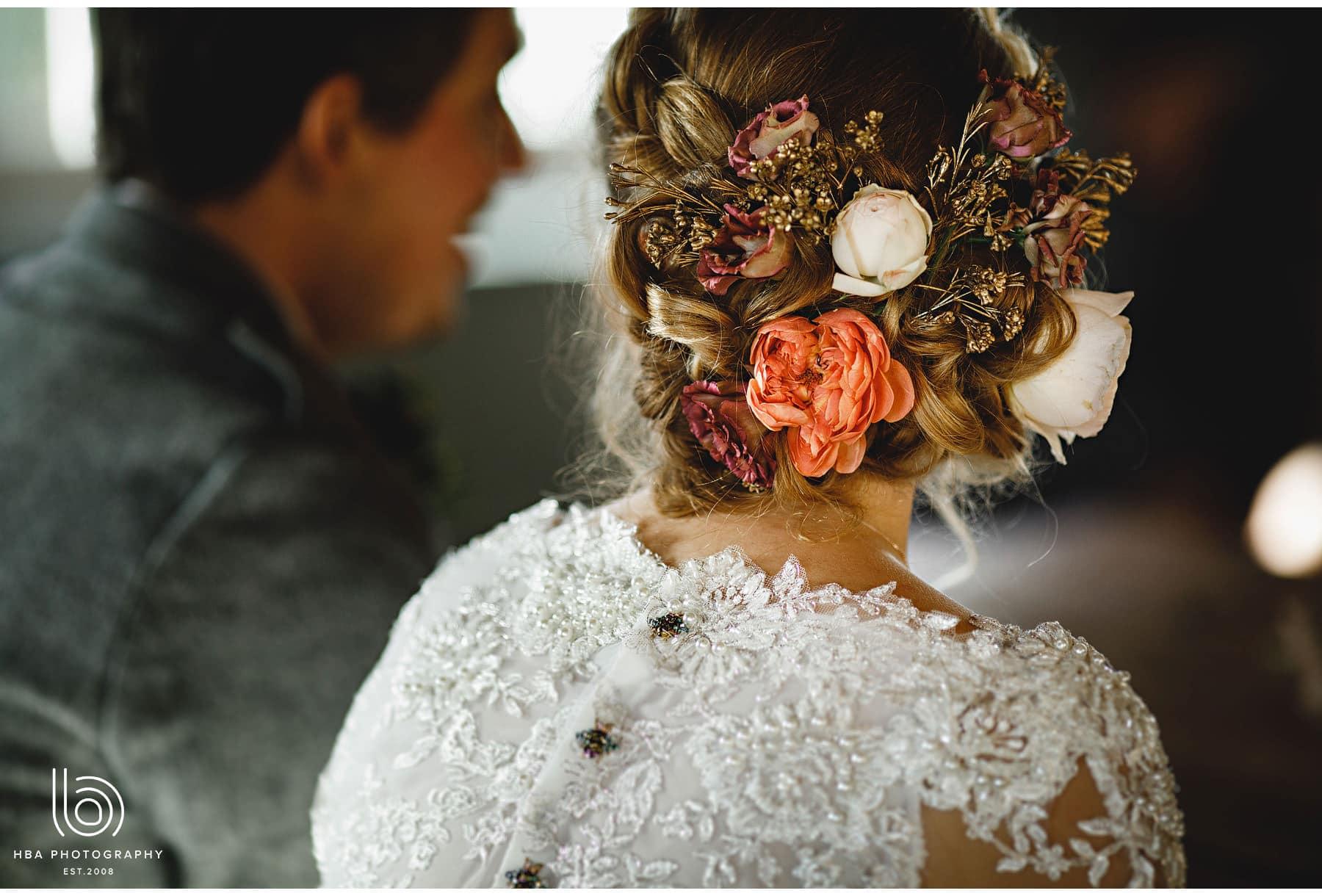 the bride's hair