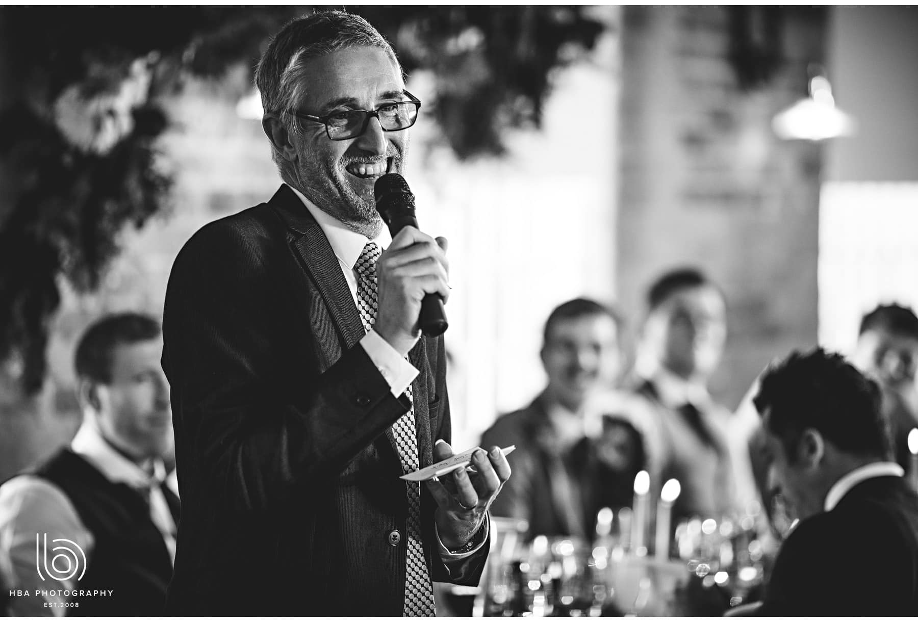 the father of the bride doing his speech