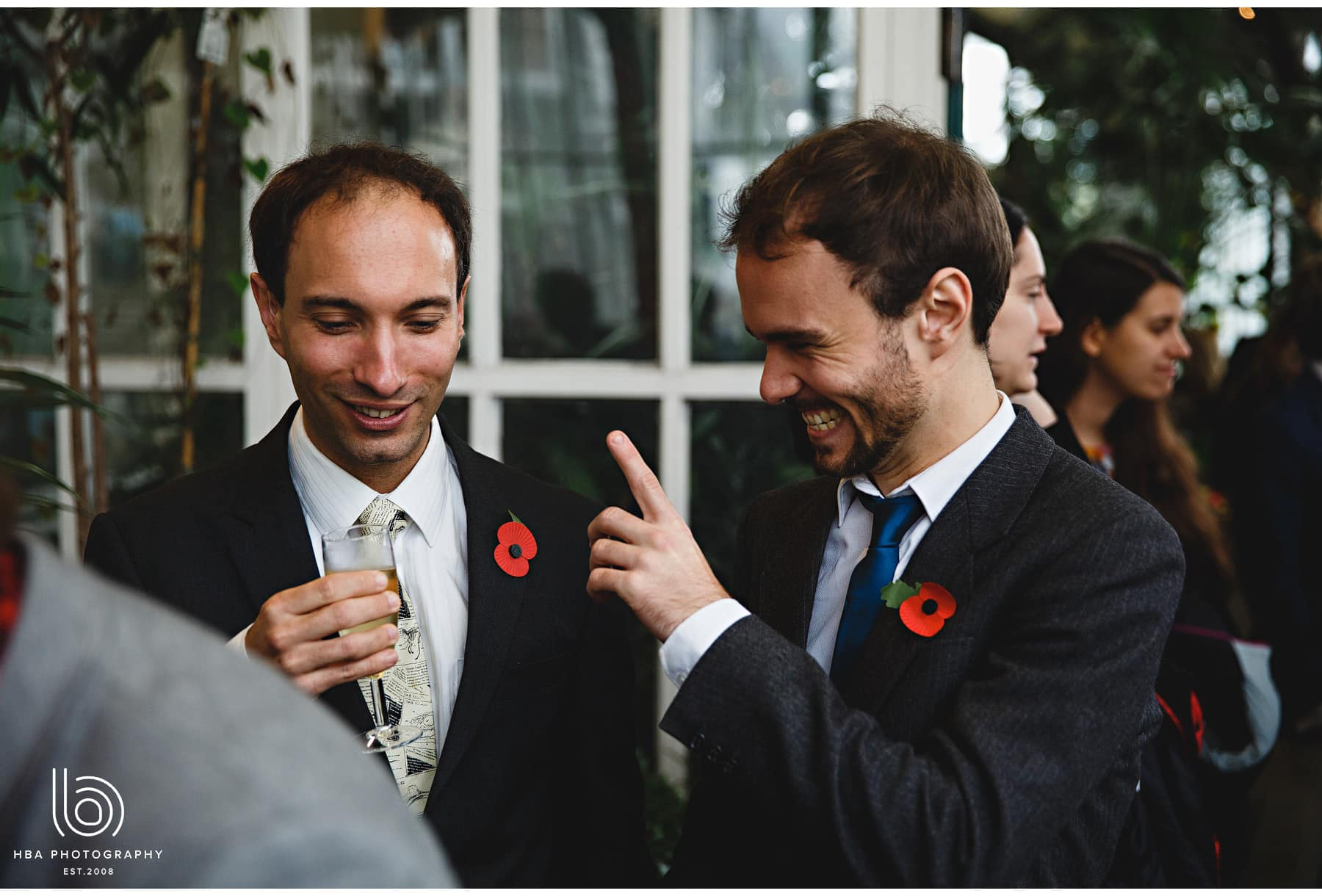 the wedding guests laughing