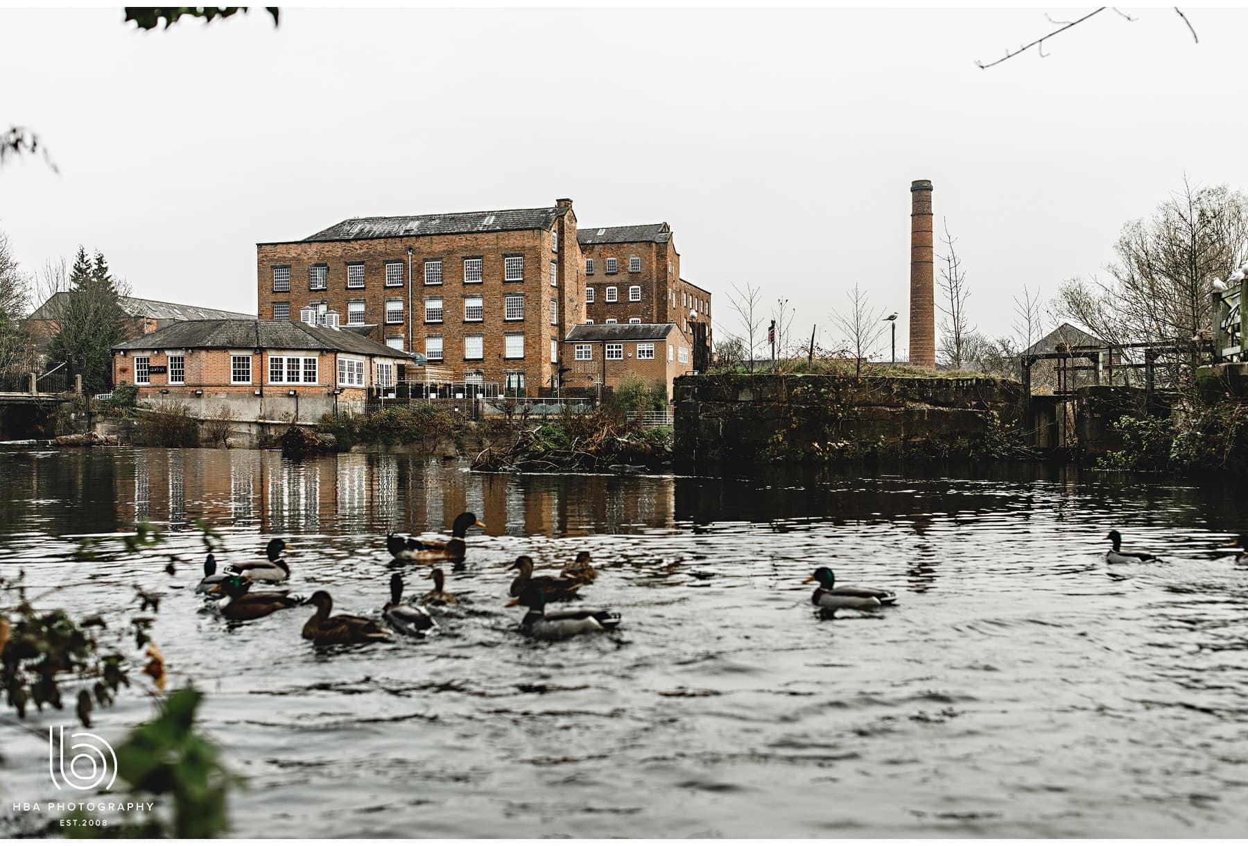 The West Mill from across the water of the derwent river in Derby