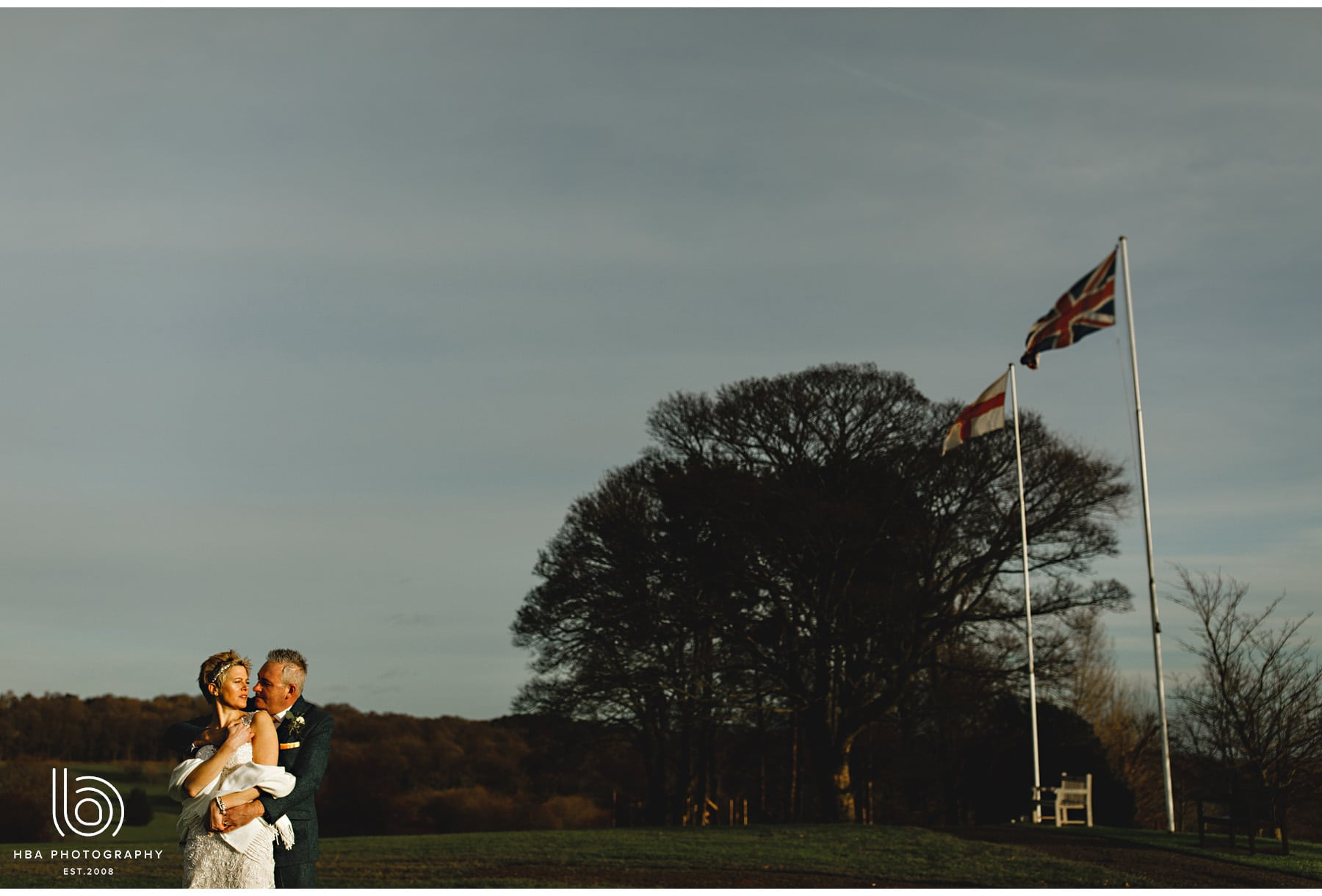 the bride & groom on the golf course