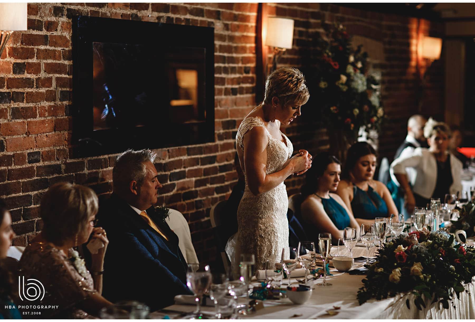 the bride making her speech