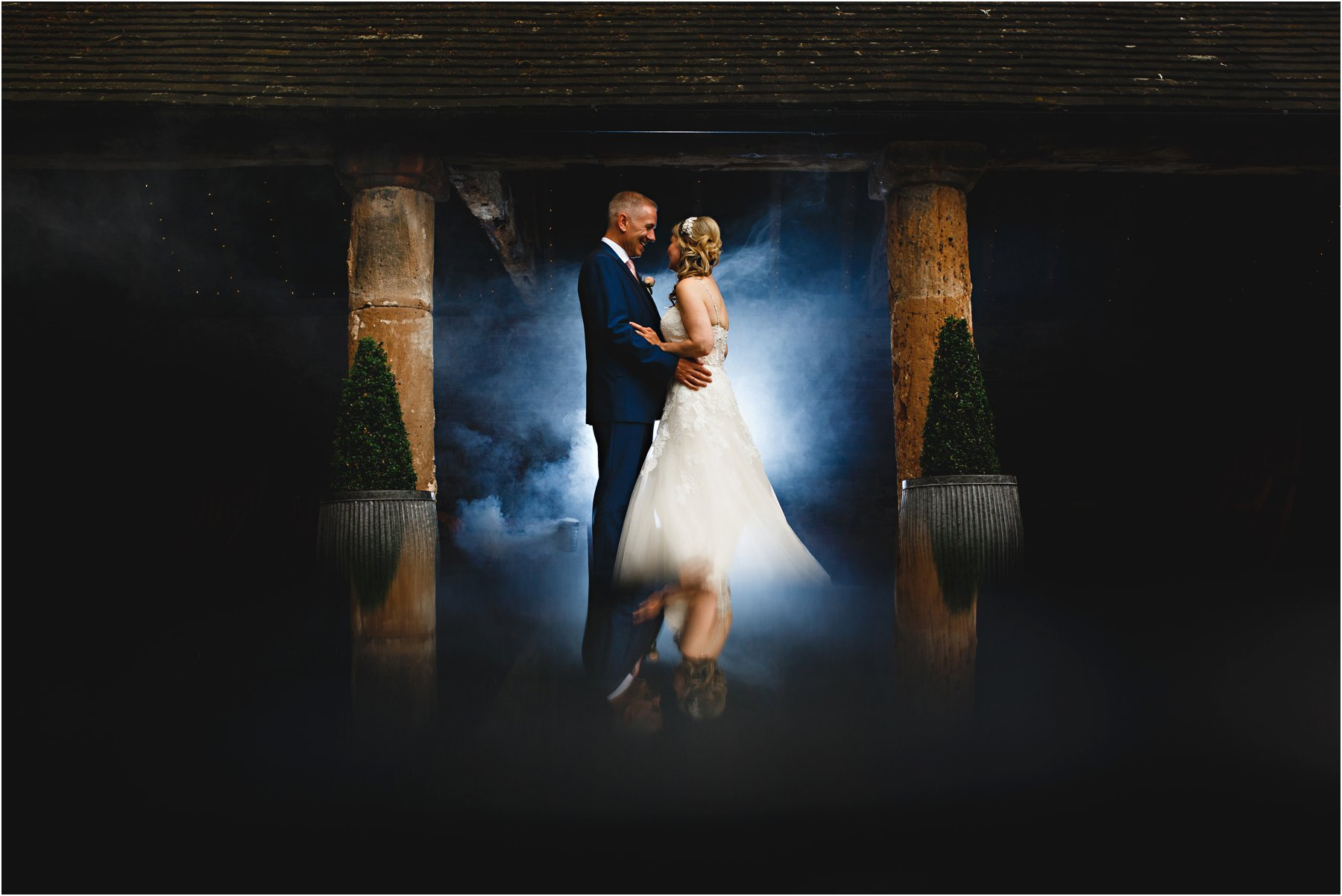 The bride and groom at Shustoke Farm Barn