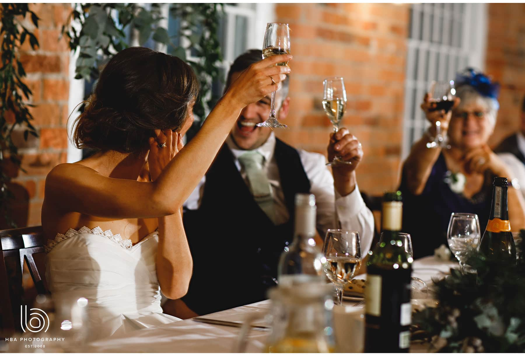 the bride and groom toasting during the speeches