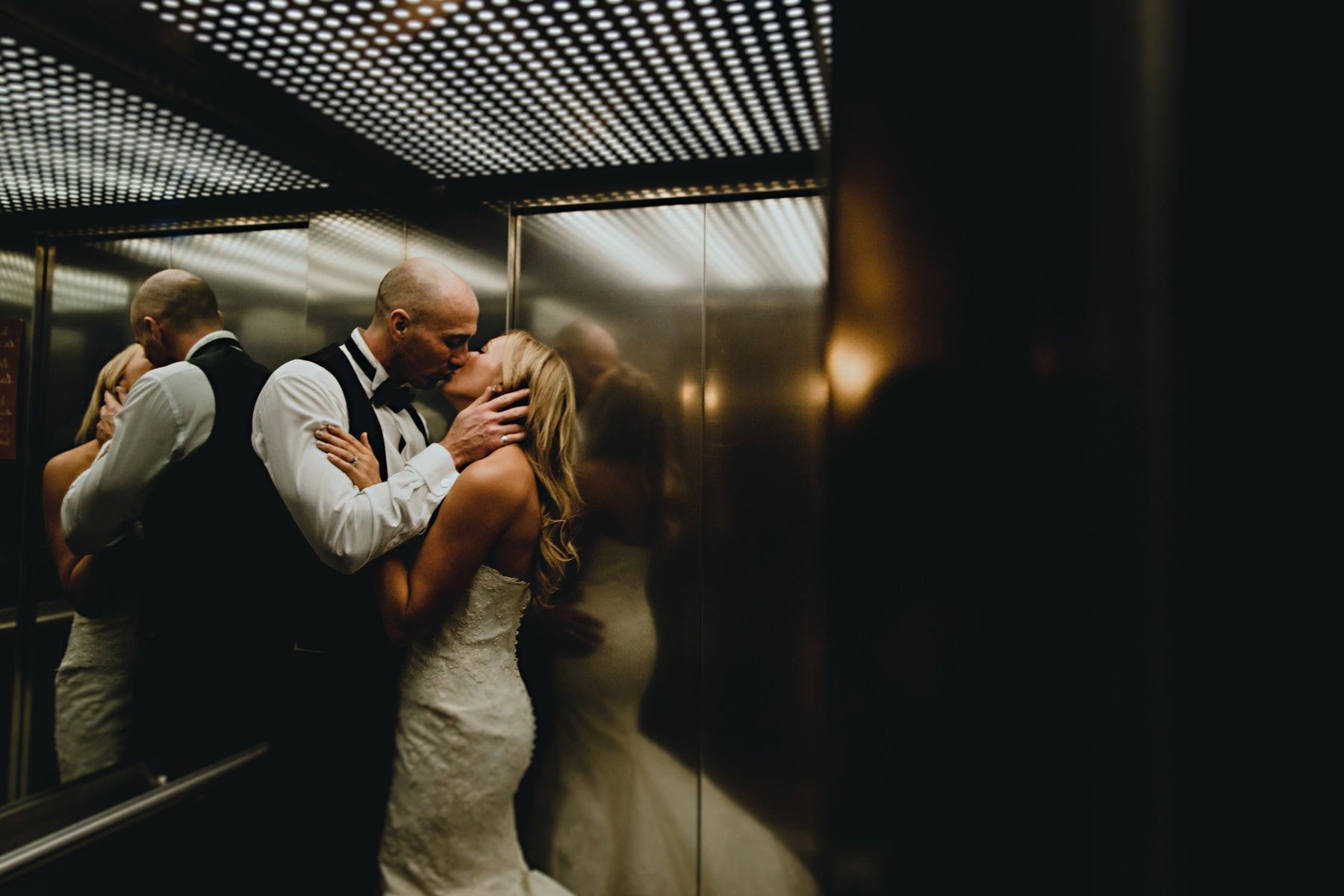 kissing in the lift at the west mill