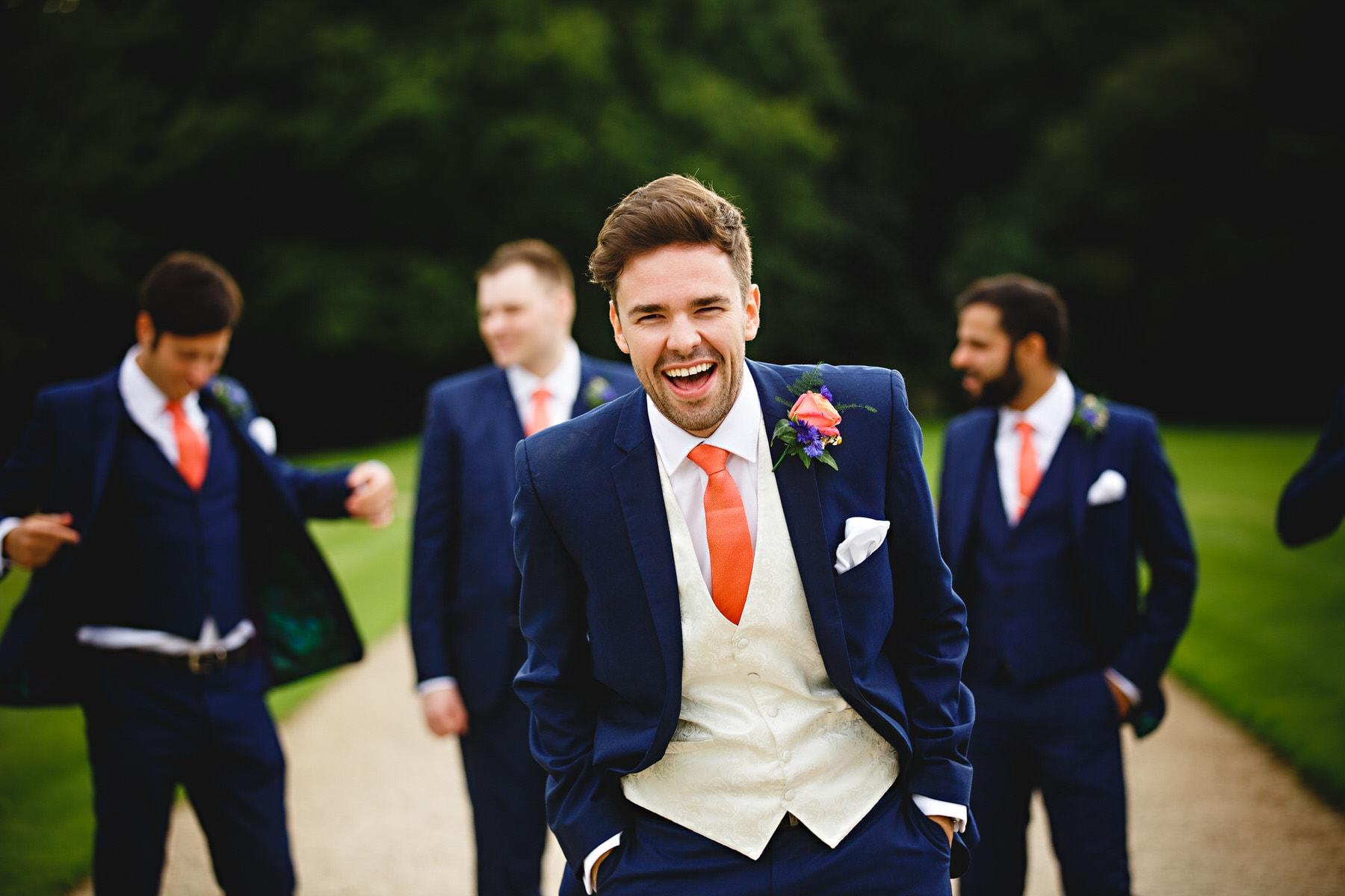groom and groomsmen in blue