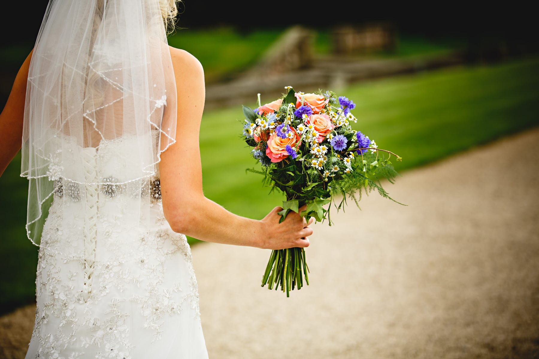 the bride holding flowers