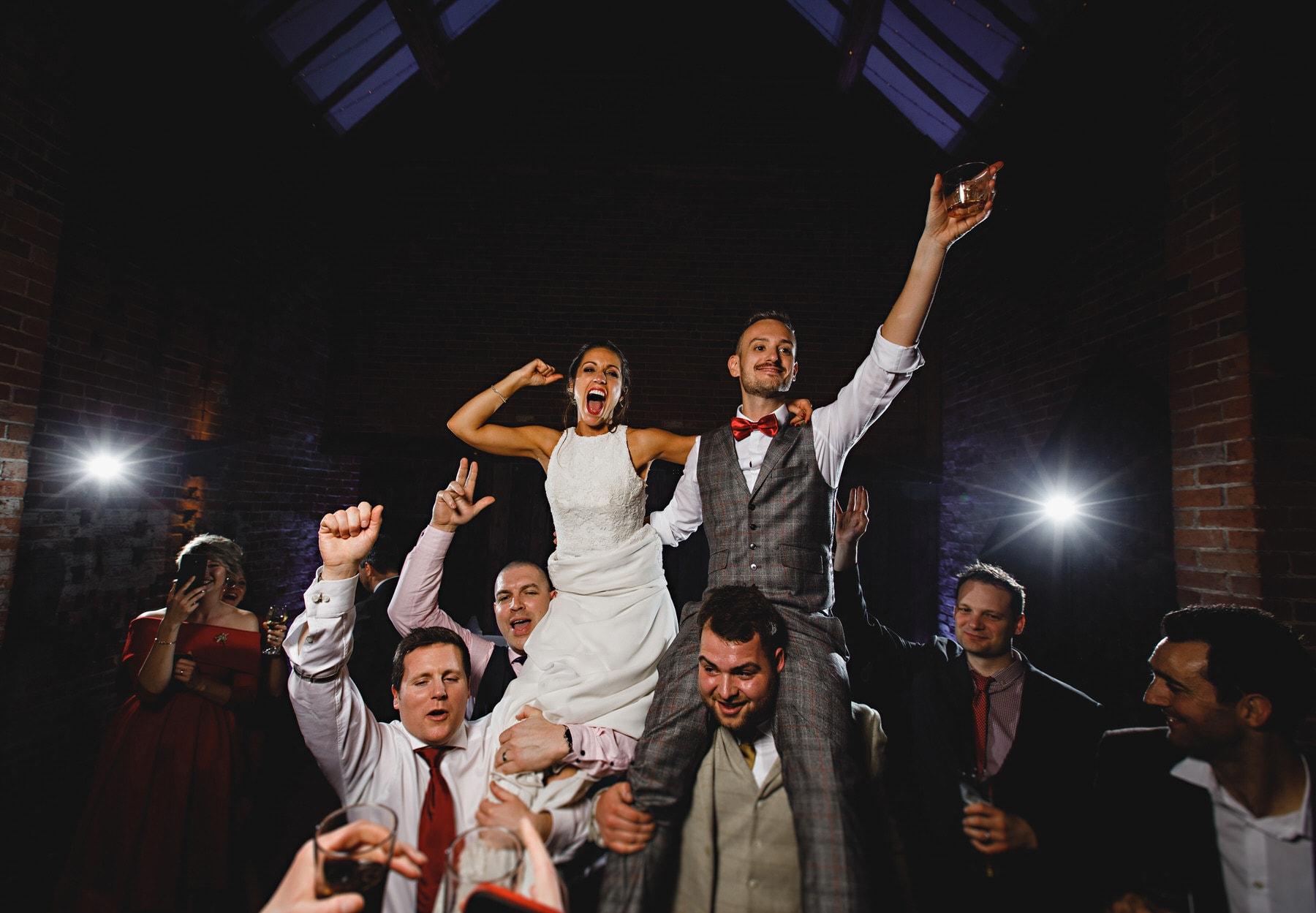 the bride and groom dancing at Shustoke Barns in Warwickshire
