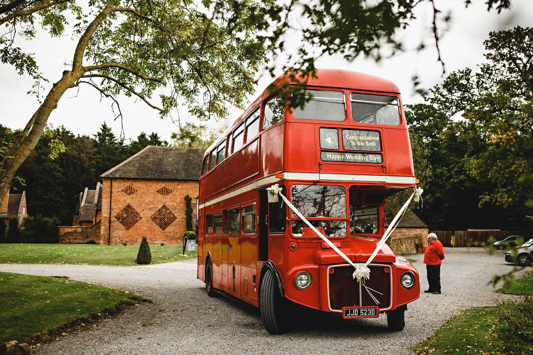 red double decker london wedding bus