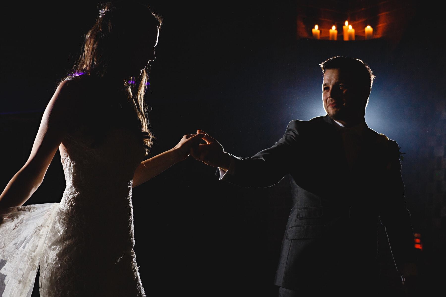 bride and groom dancing at shustoke