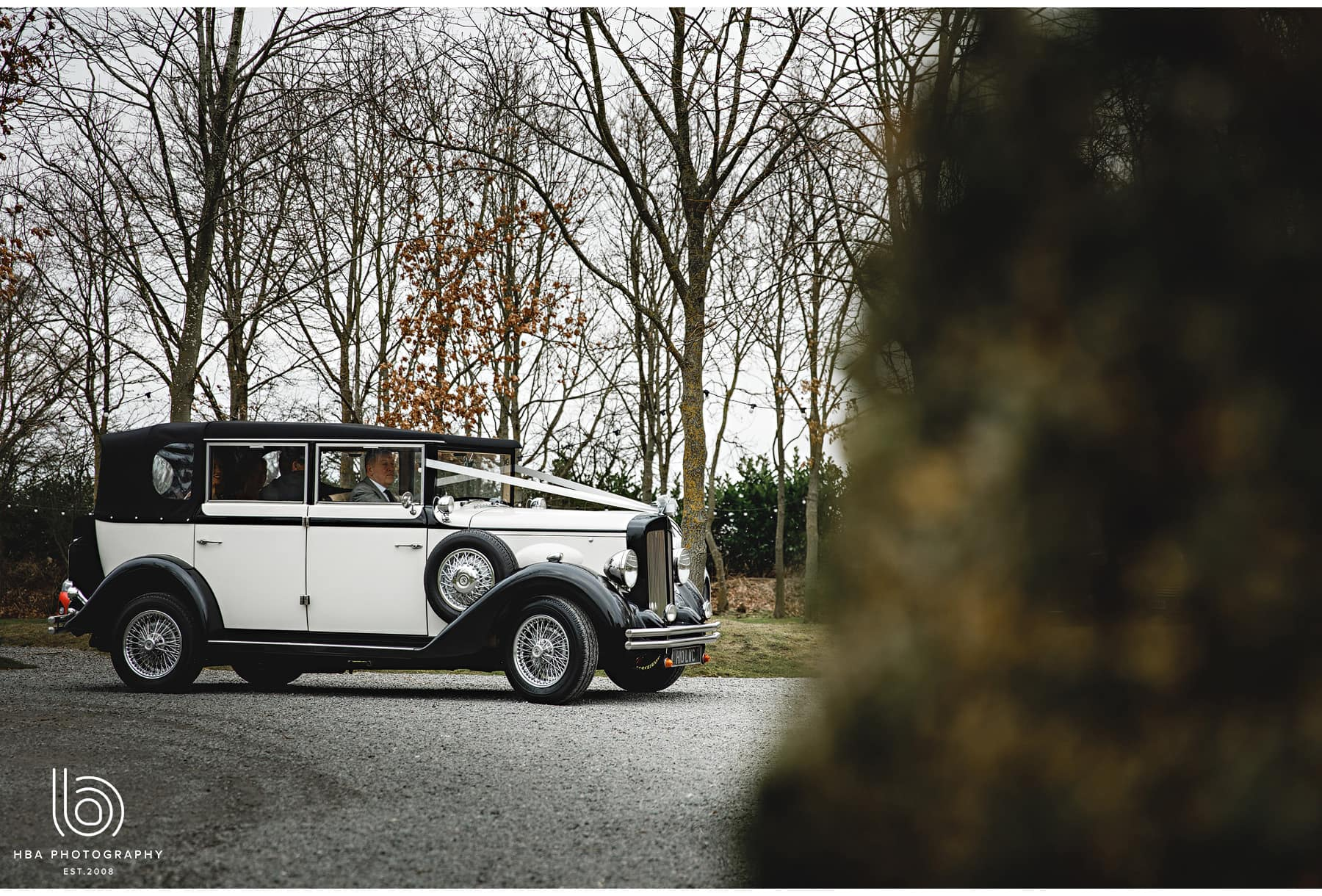 the wedding car arriving