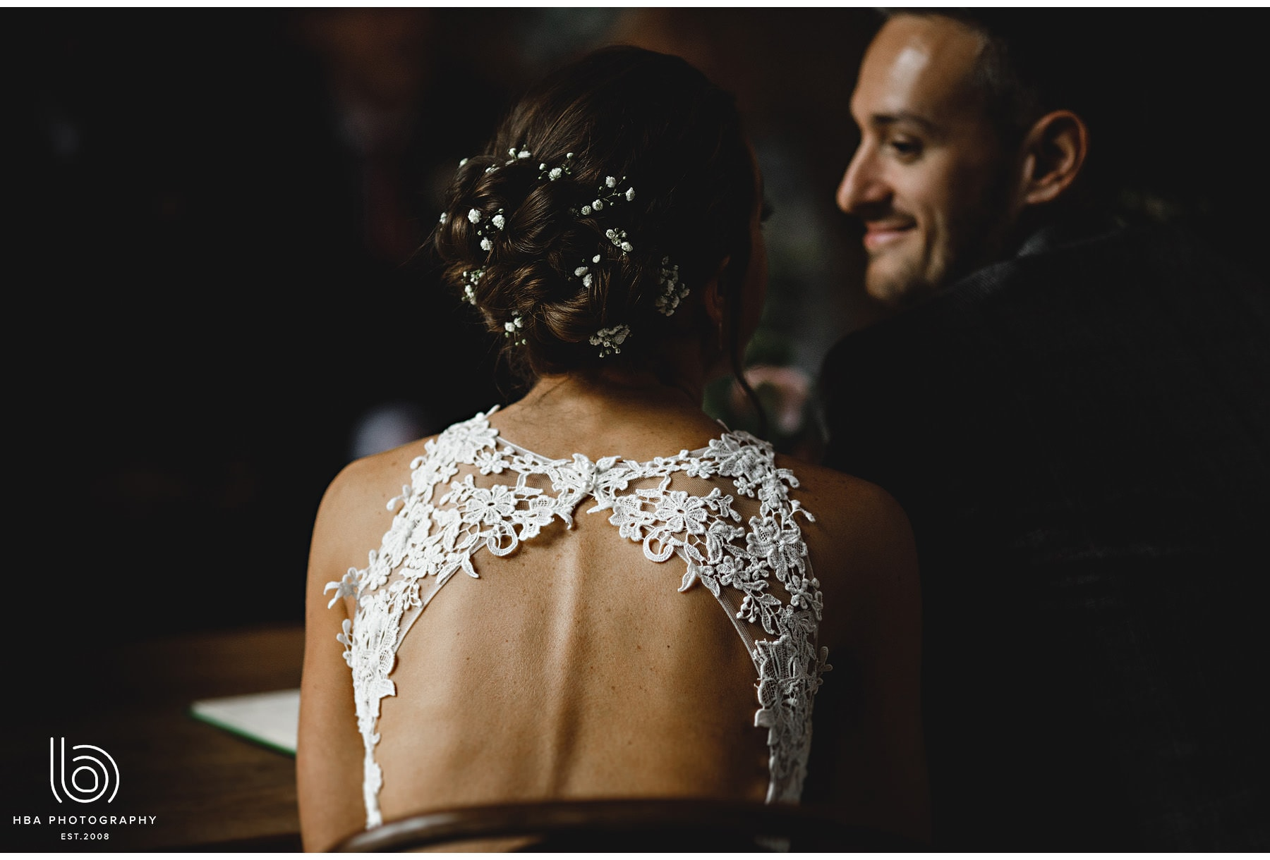 the back of the brides dress