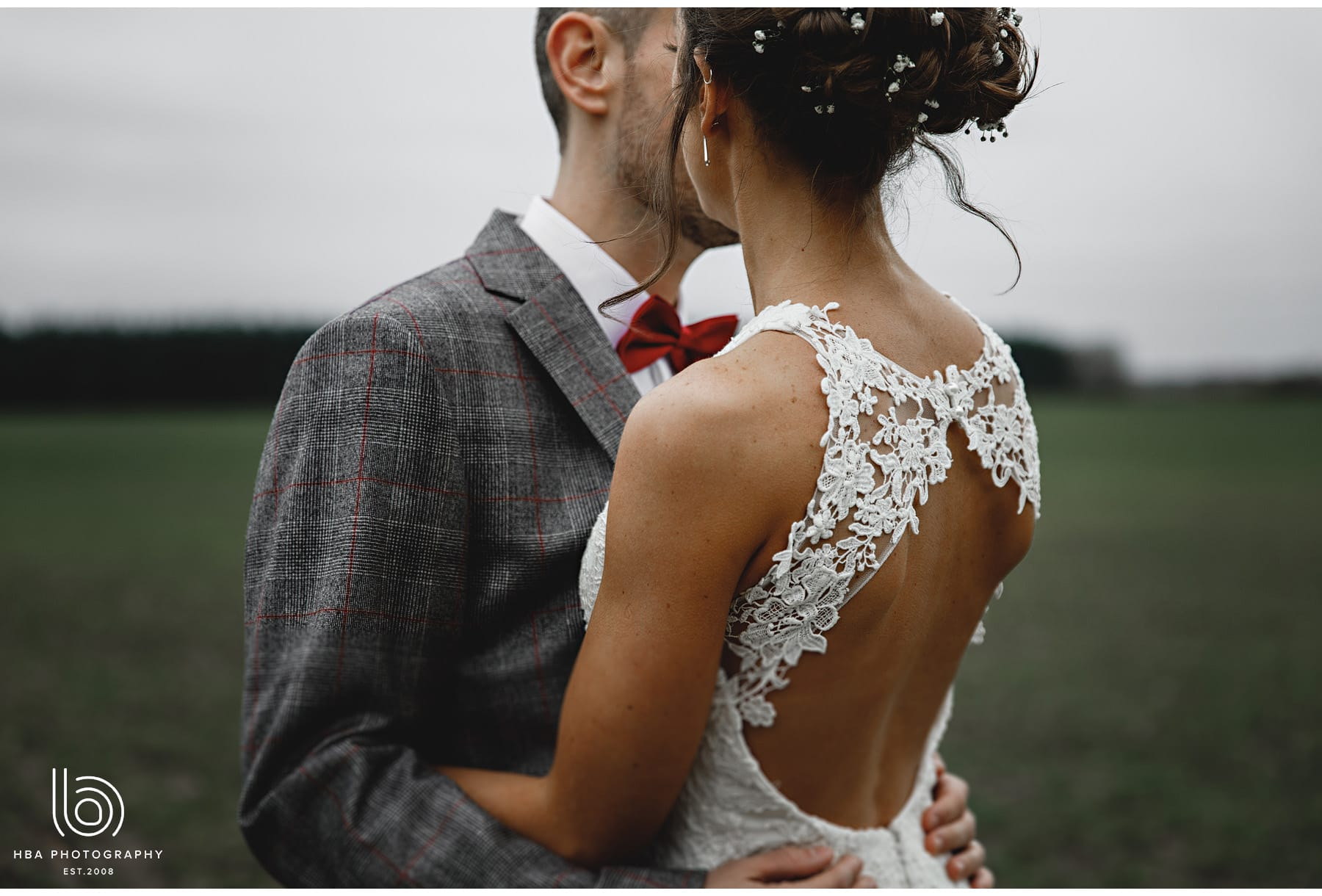 the back of the bride's dress