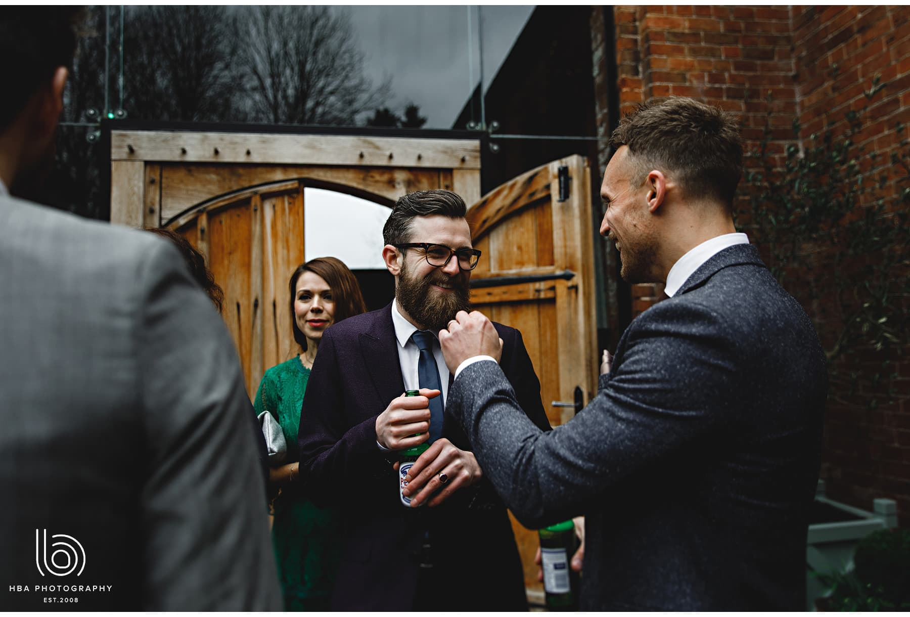 wedding guests at Shustoke Barn