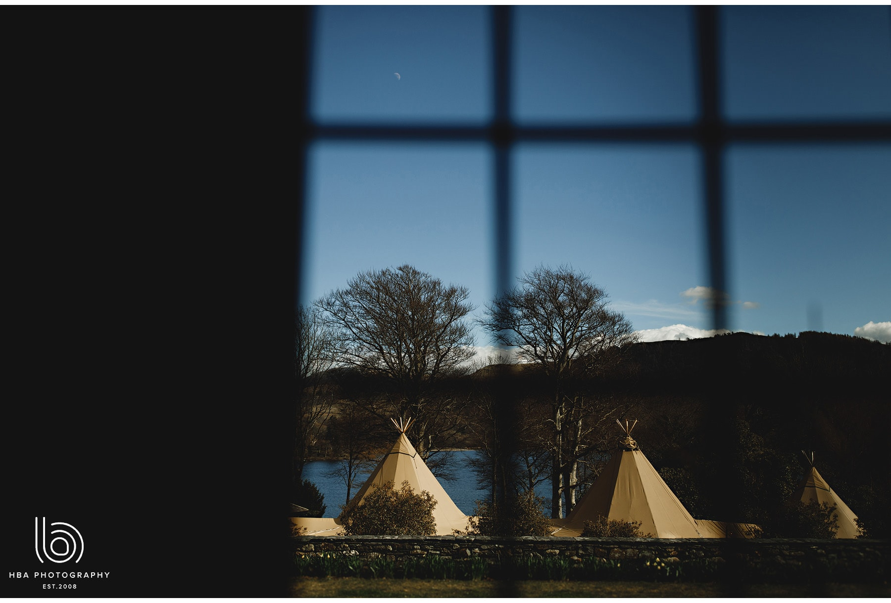 the tipi through the window