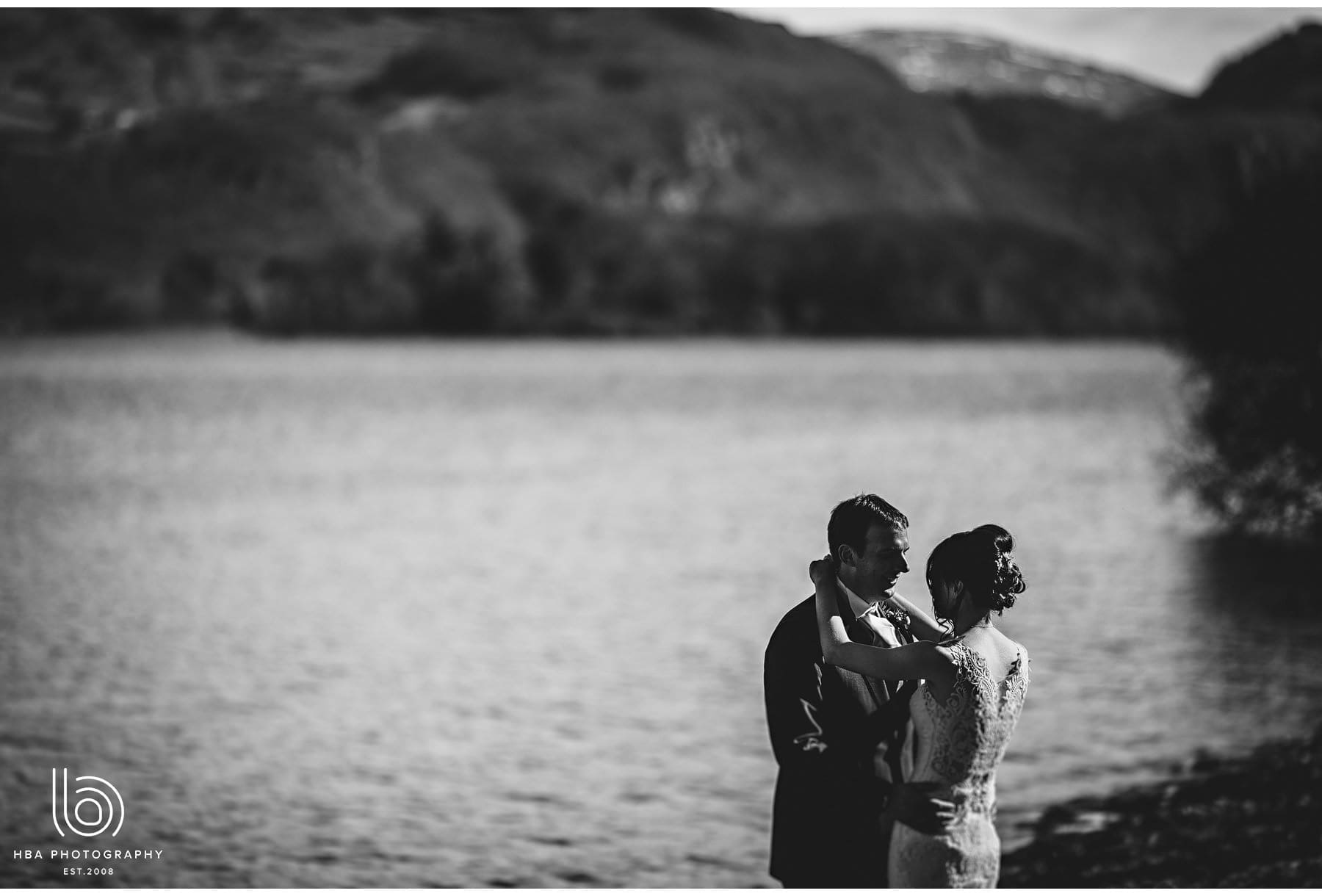 the bride & groom with Derwent Water in the background