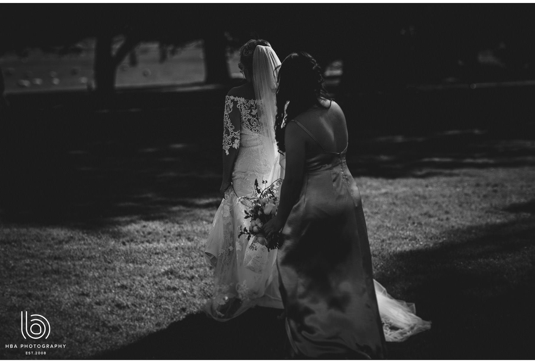 the bride walking at Stapleford park