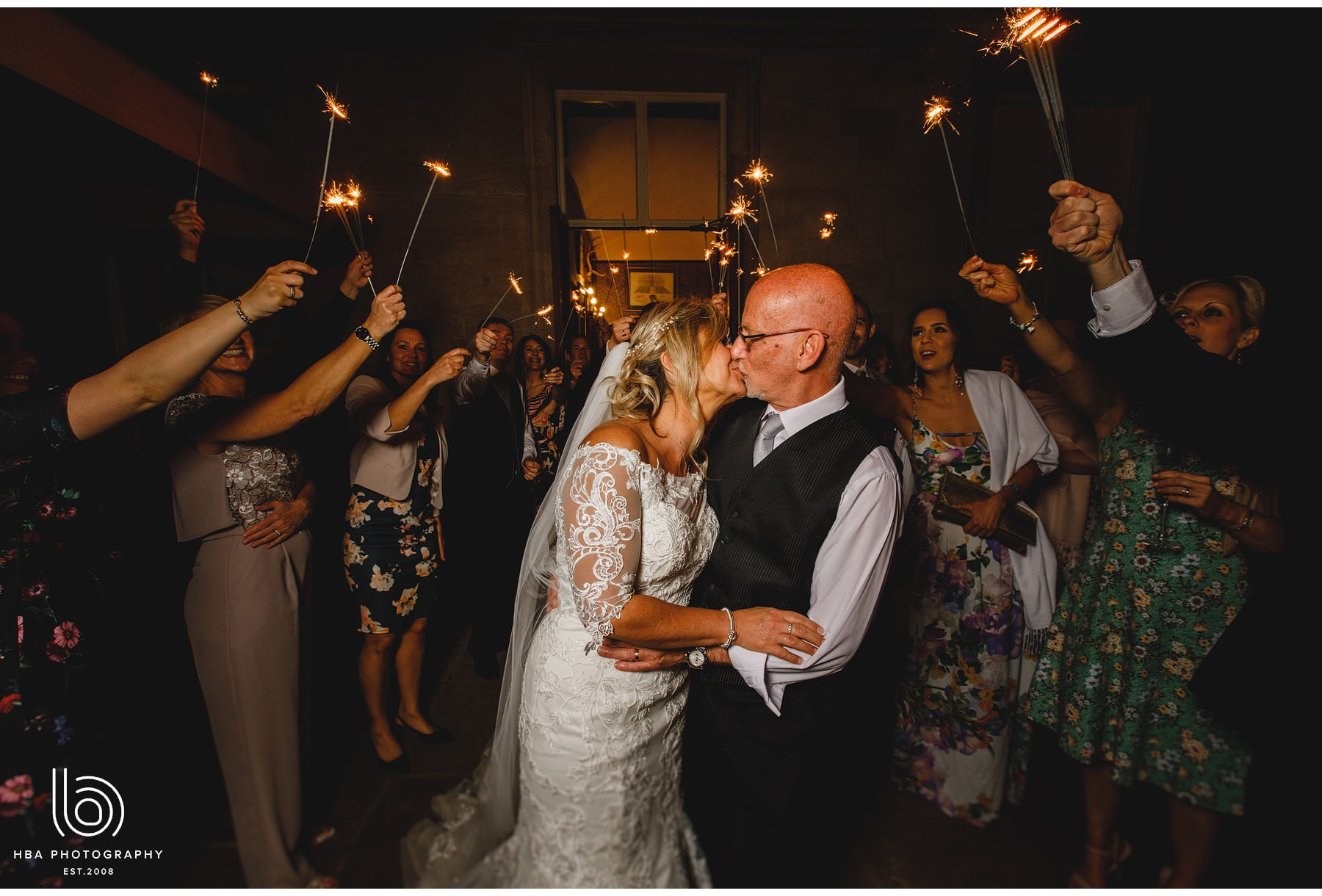 the bride & groom with sparklers!