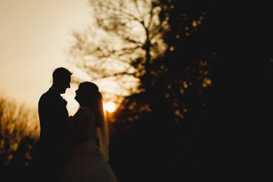 golden hour sunset at Hampton Manor wedding