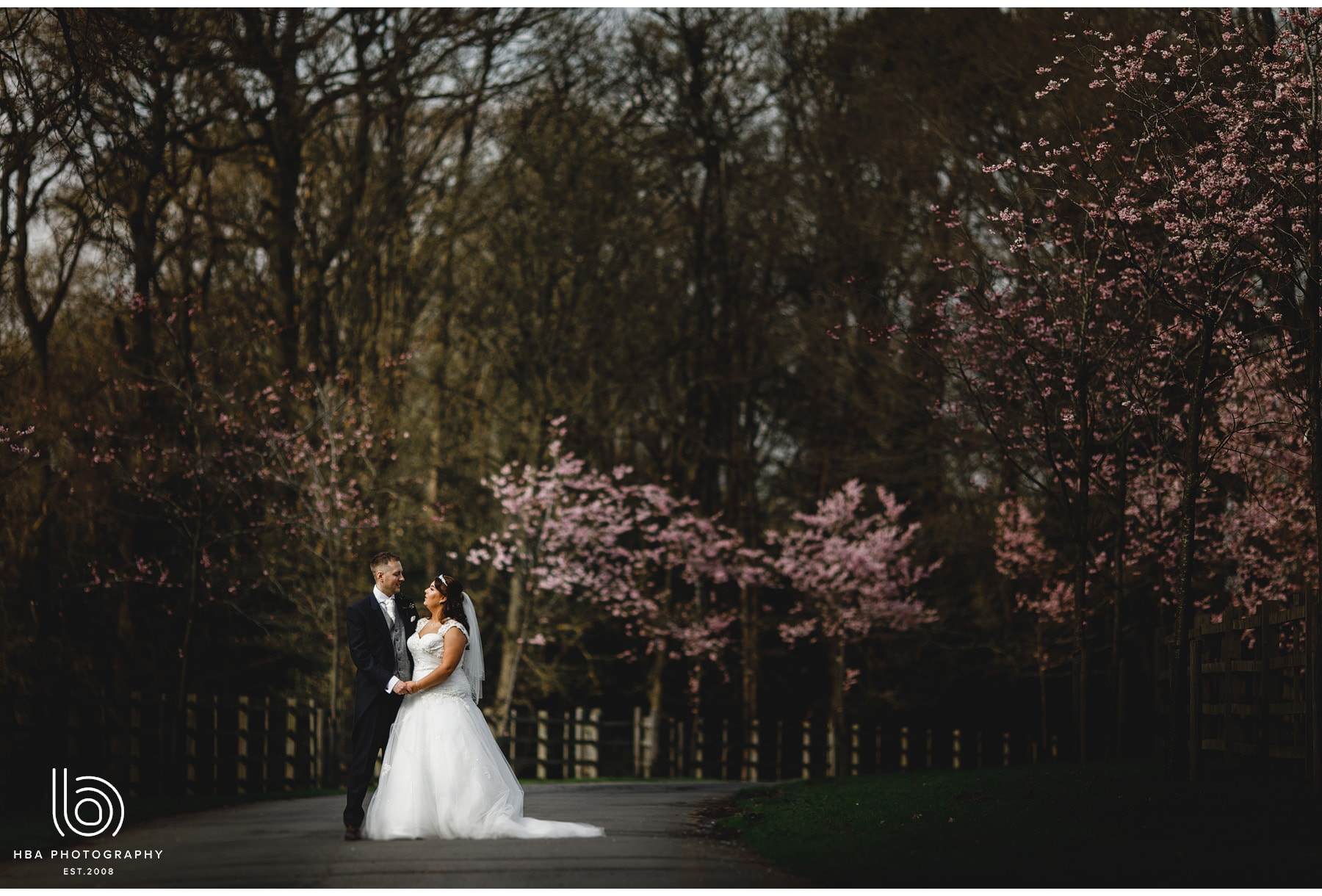 the bride & groom in the blossom