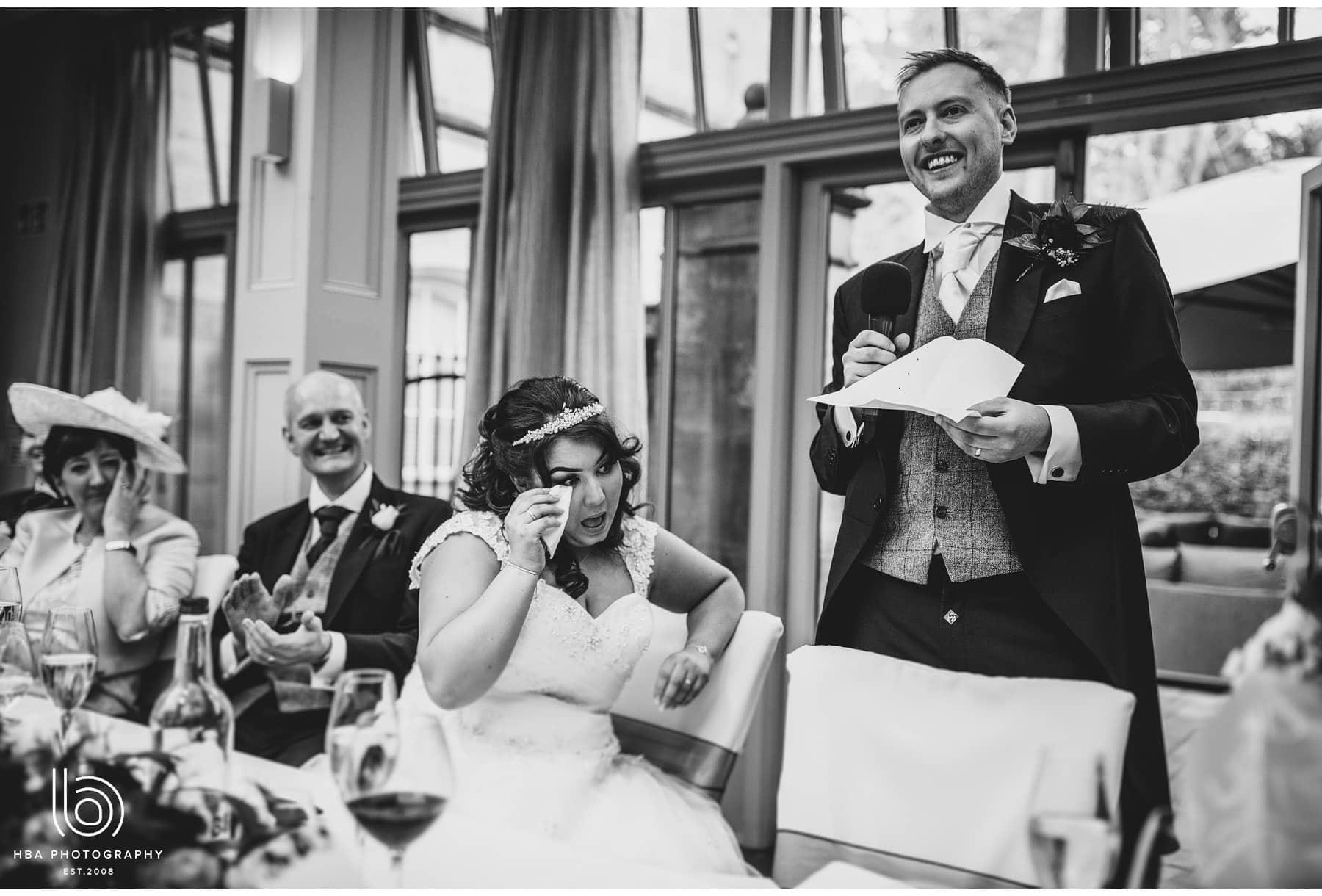bride in tears as groom speaks