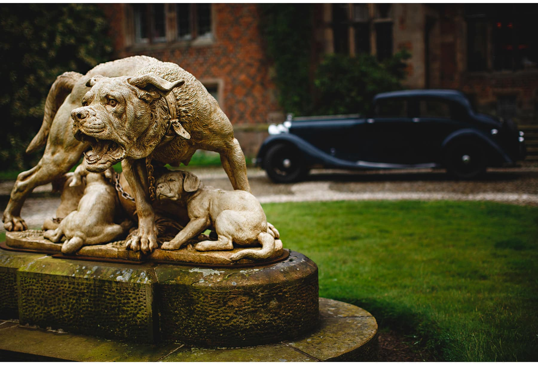 The wolfhound statue at the front of the hall