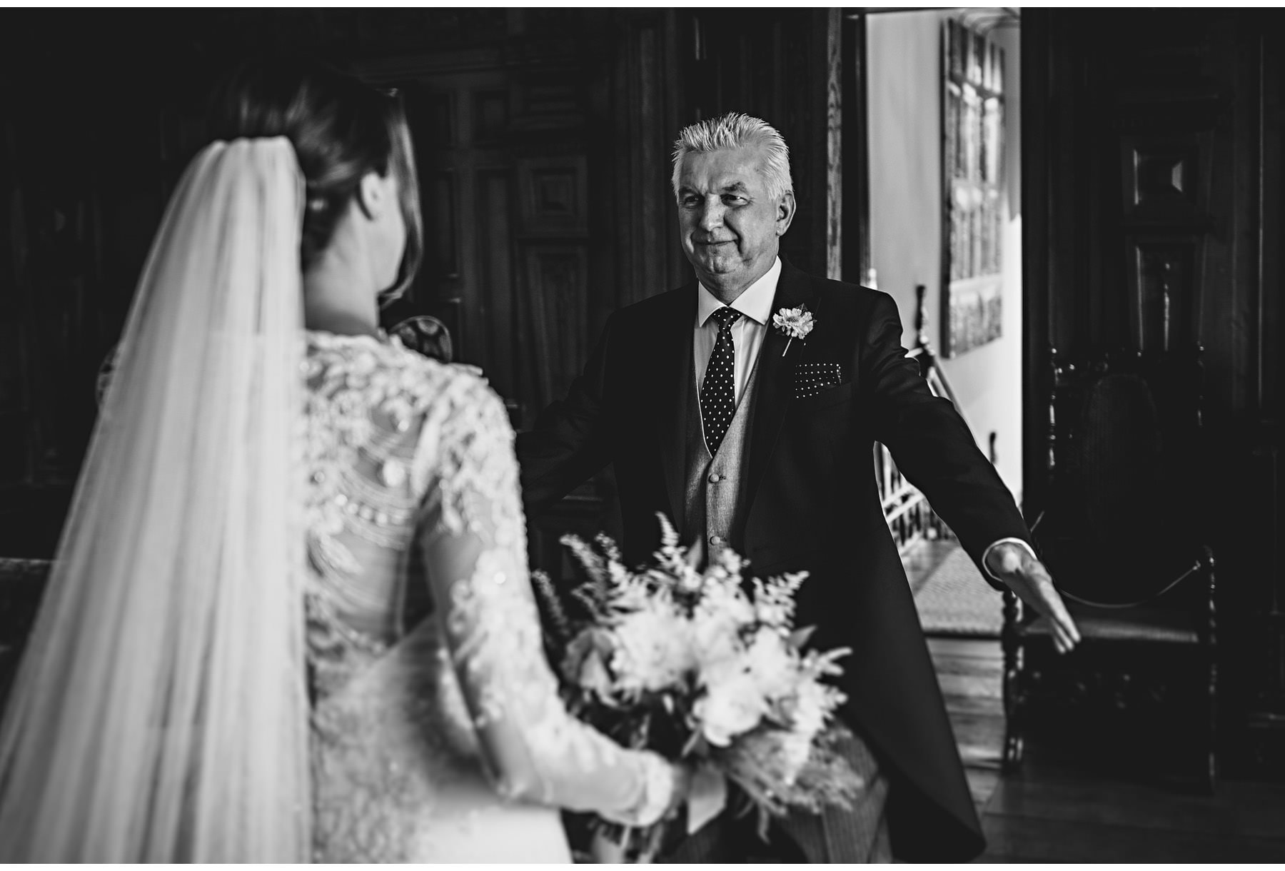 the father of the bride seeing his daughter