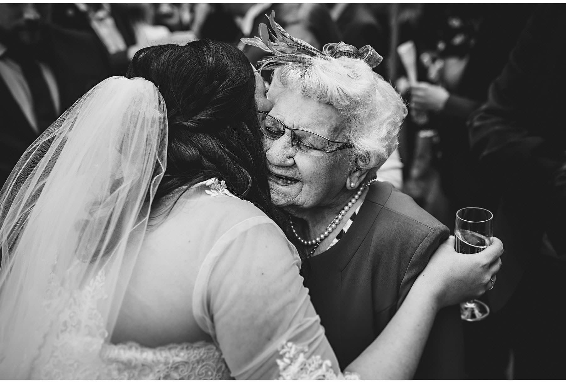 the bride hugging her nan