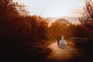wedding photos at shustoke barns in the golden sunshine