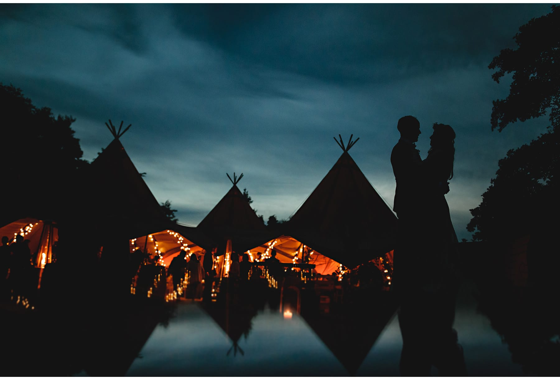 wedding tipis against a dark blue sky