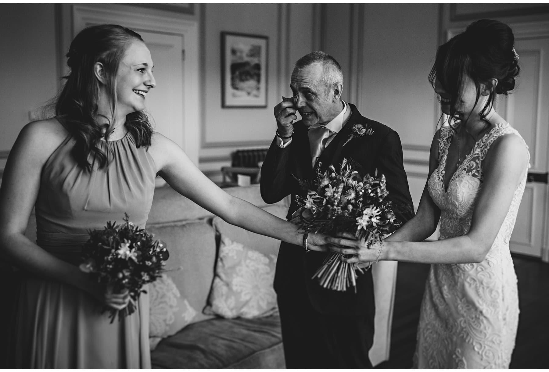 the father of the bride in tears as he sees his daughter