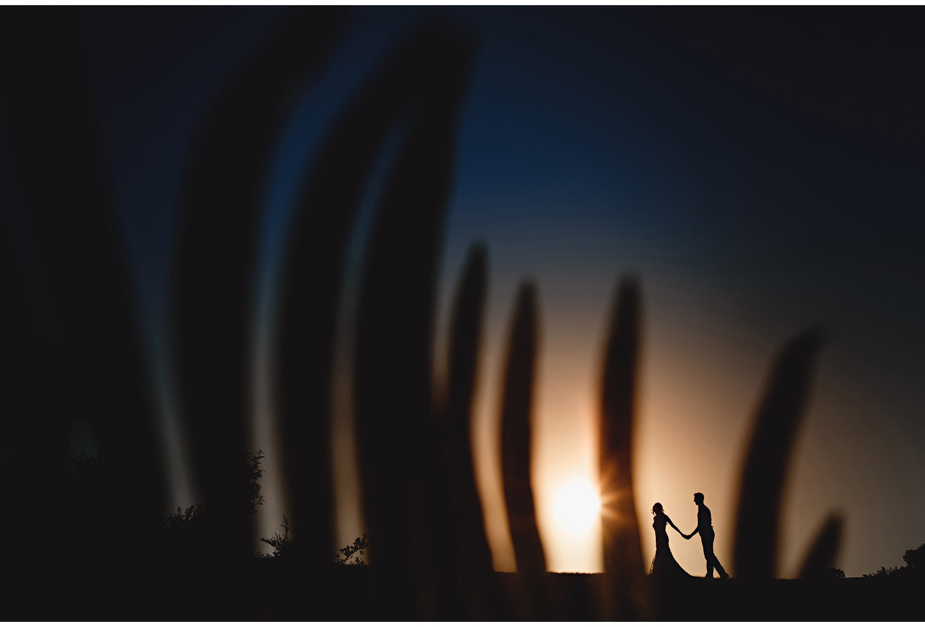 The bride & groom walking on the horizon