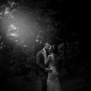 a beautiful black and white wedding photo at Stancliffe Hall in Derbyshire