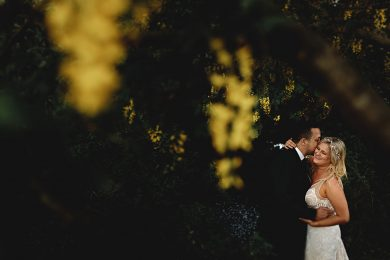 Alice & Jono's wedding photos in a Yurt surrounced by yellow flowers