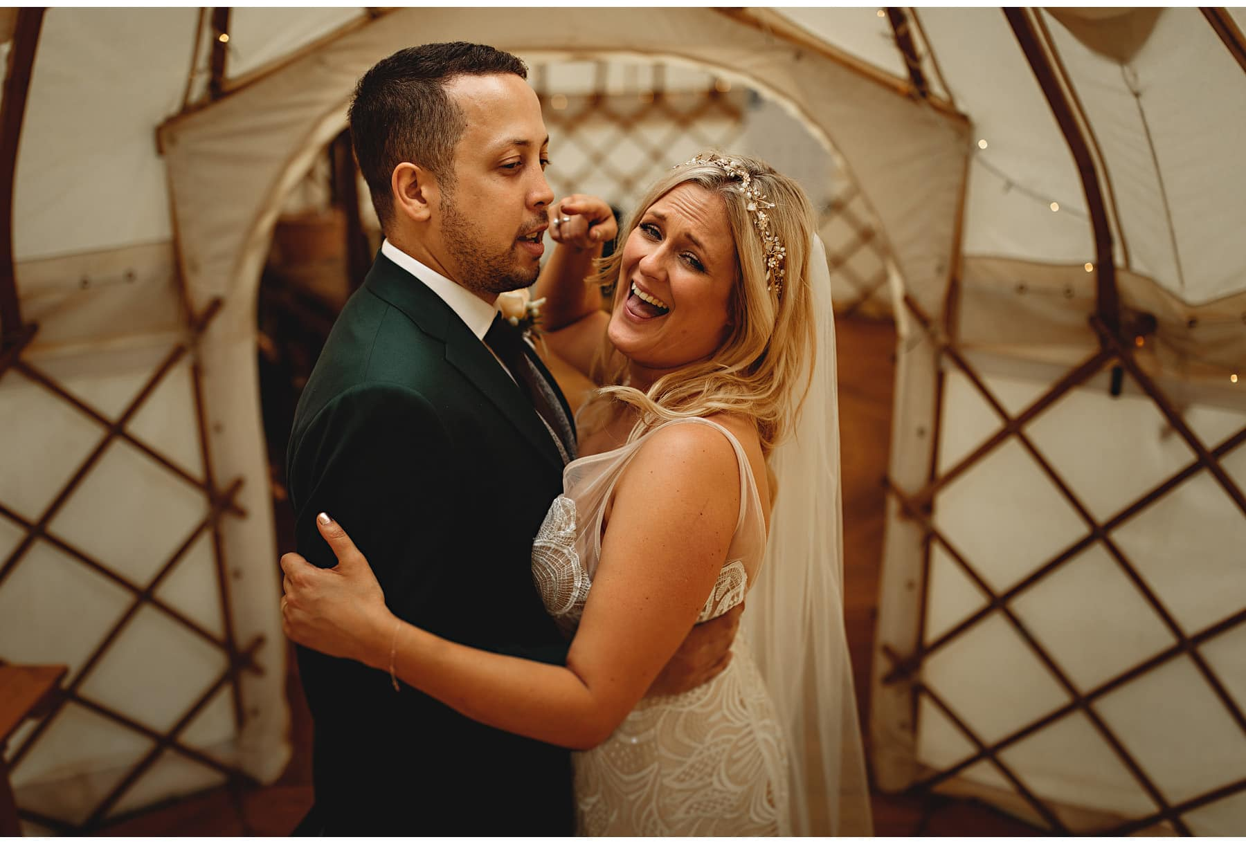 The bride & groom in the yurt