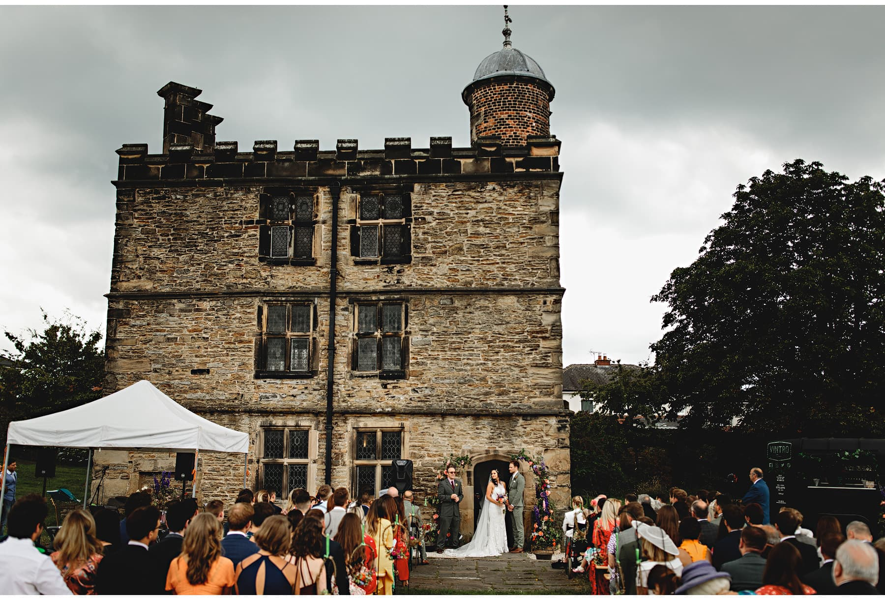 the wedding ceremony at the Turret House
